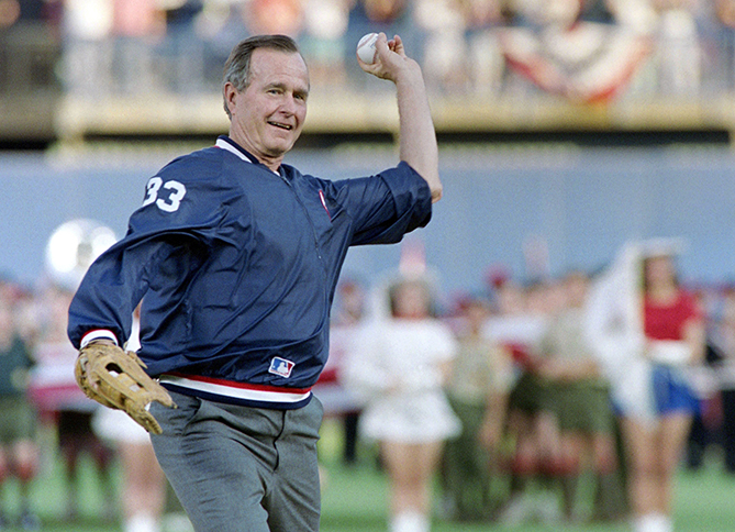 President Bush threw out eight first pitches and attended a total of 10 games: six in Baltimore, one in Anaheim, one in Arlington, Texas, one in San Diego, and one in Toronto. On April 10, 1990, he became the first American president to throw out a first pitch at a game in Canada. Forty-One (as Bush is called by his son, George W. Bush, the 43rd president) is a huge baseball fan. He was the captain of his team at Yale, which played in the 1947 College World Series. And after leaving office, he and his wife, Barbara, have thrown out more first pitches and stayed close to the game.