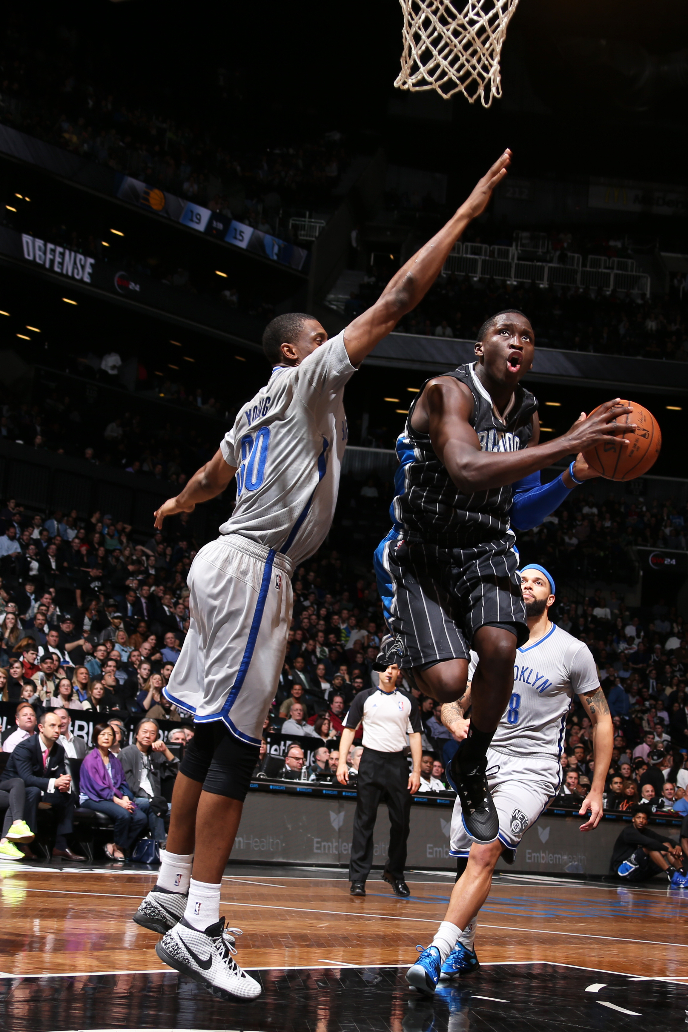 NEW YORK, NY - APRIL 15: Victor Oladipo #5 of the Orlando Magic goes up for a shot against the Brooklyn Nets on April 15, 2015 at the Barclays Center in the Brooklyn borough of New York City. (Photo by Nathaniel S. Butler/NBAE via Getty Images)