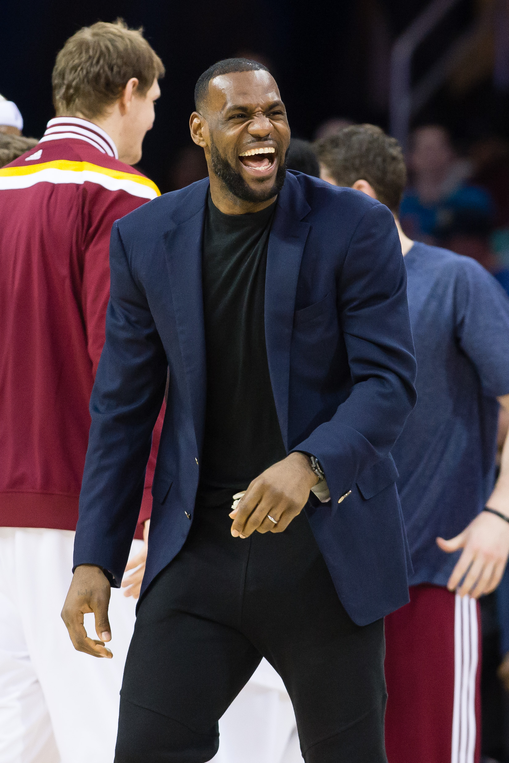 CLEVELAND, OH - APRIL 15: LeBron James #23 of the Cleveland Cavaliers celebrates during overtime against the Washington Wizards at Quicken Loans Arena on April 15, 2014 in Cleveland, Ohio. The Cavaliers defeated the Wizards 113-108 in overtime. (Photo by