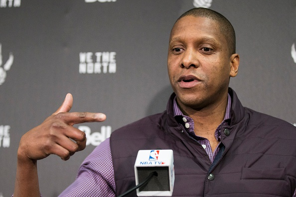 TORONTO, ON - APRIL 16: Toronto Raptors' President and General Manager Masai Ujiri talks to the media ahead of their first game against Washington Wizards.        (Bernard Weil/Toronto Star via Getty Images)