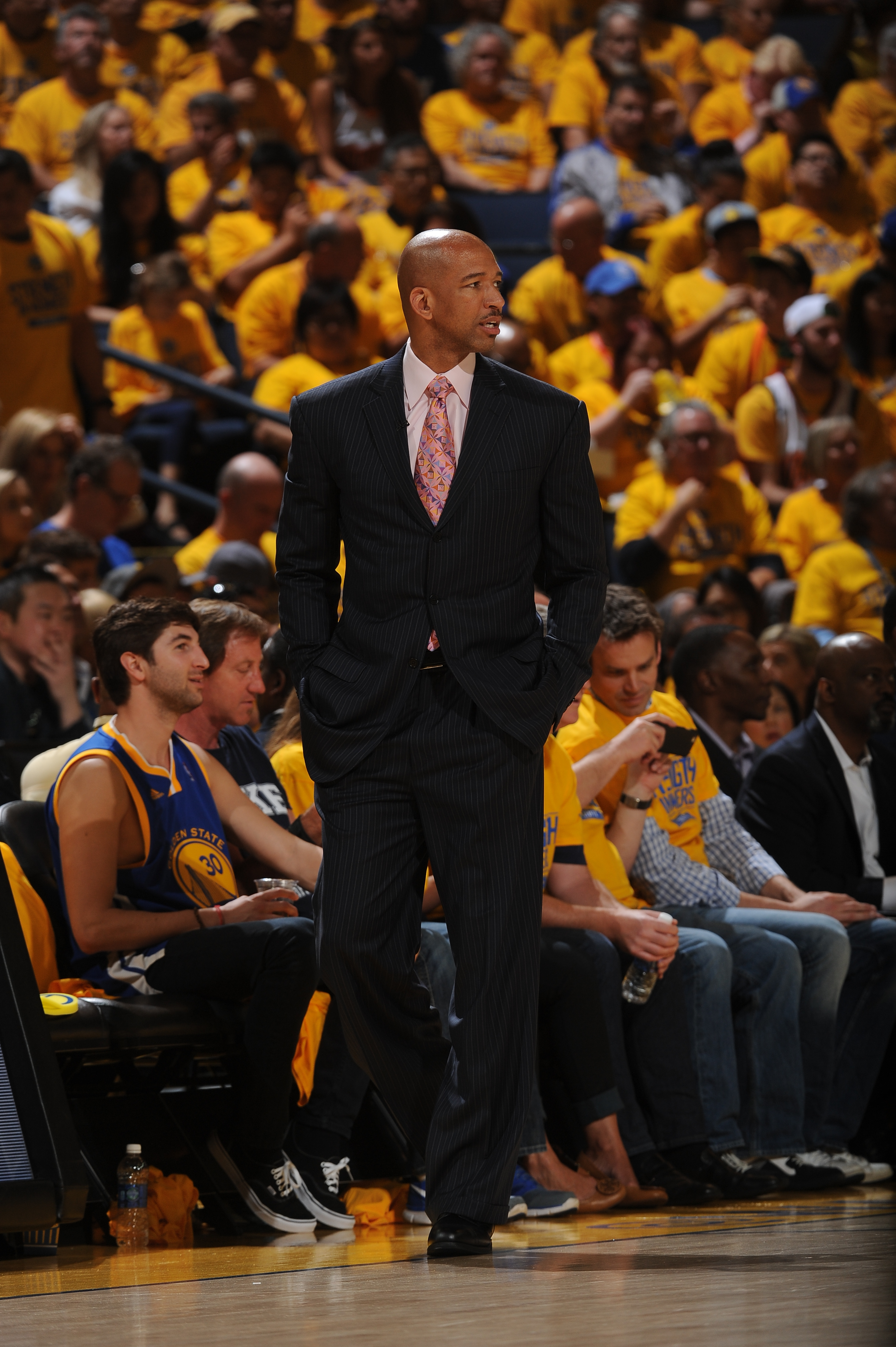 OAKLAND, CA - APRIL 18: Head coach, Monty Williams of the New Orleans Pelicans during Game One of the Western Conference Quarterfinals against the Golden State Warriors during the NBA Playoffs on April 18, 2015 at Oracle Arena in Oakland, California. (Pho