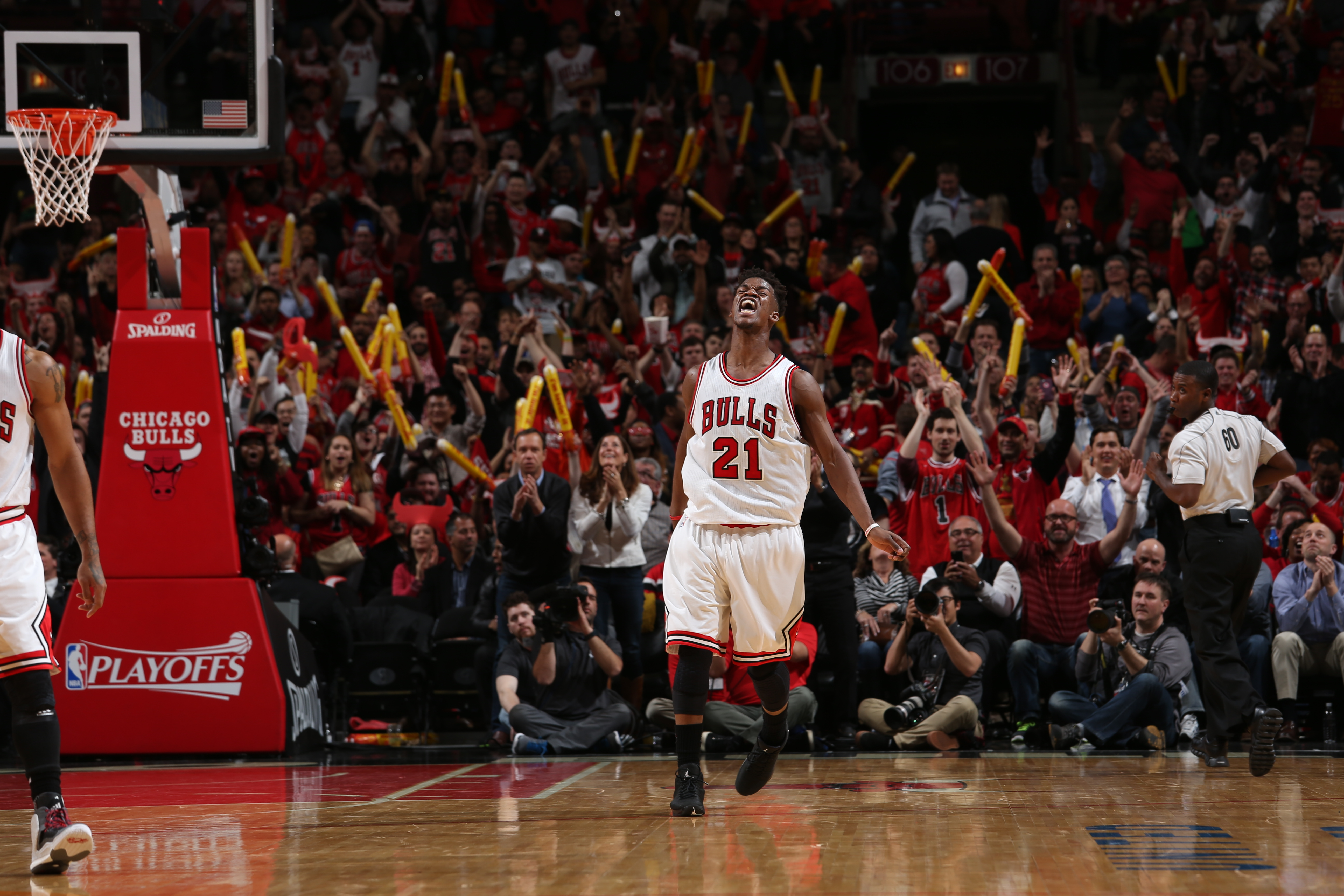 CHICAGO, IL - APRIL 20:  Jimmy Butler #21 of the Chicago Bulls celebrates in Game Two of the Eastern Conference Quarterfinals against the Milwaukee Bucks during the NBA Playoffs on April 20, 2015 at the United Center in Chicago, Illinois. (Photo by Gary D