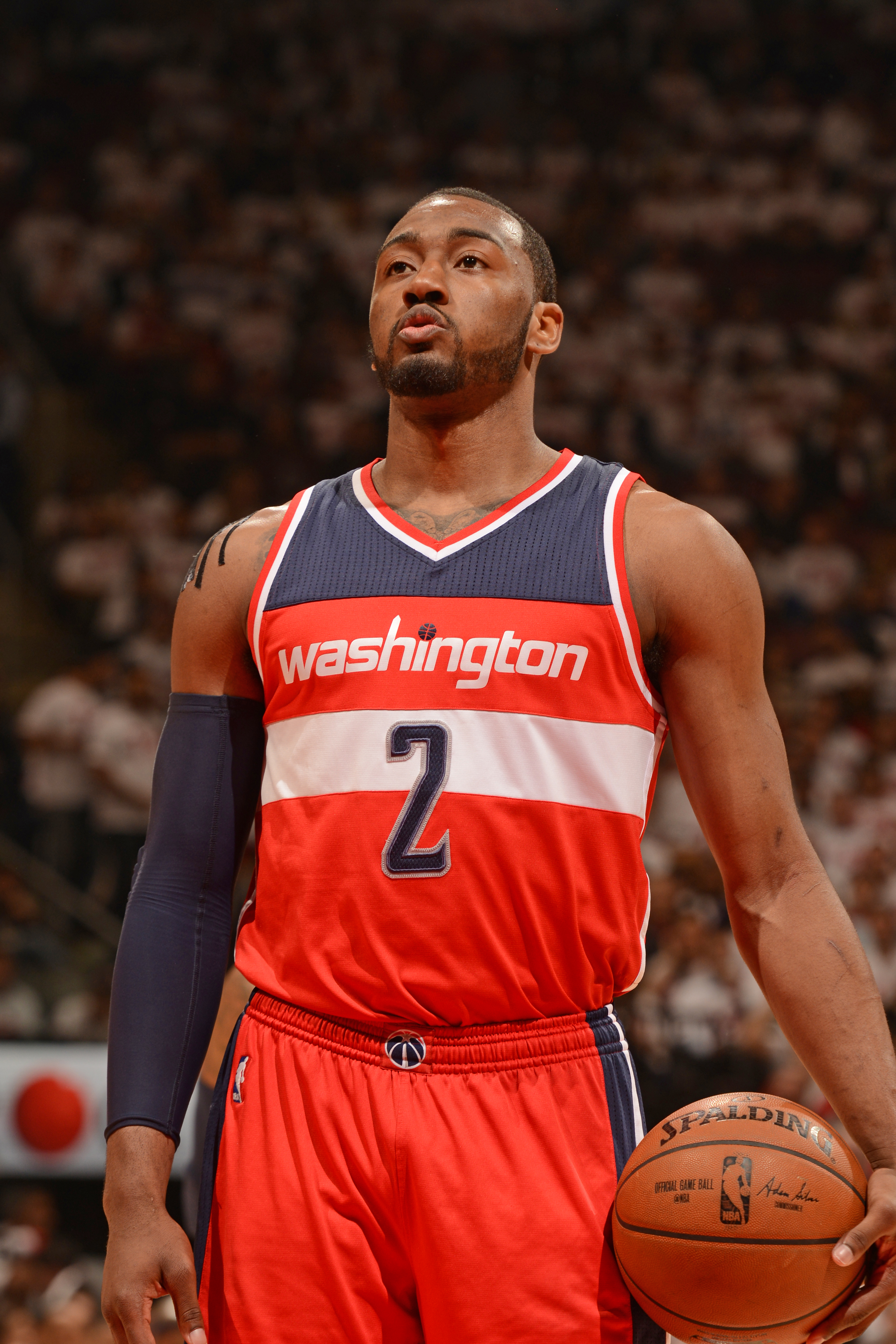 TORONTO, CANADA - APRIl 21:  John Wall #2 of the Washington Wizards shoots a free throw in Game Two of the Eastern Conference Quarterfinals against the Toronto Raptors during the 2015 NBA Playoffs on April 21, 2015 at the Air Canada Centre in Toronto, Ont