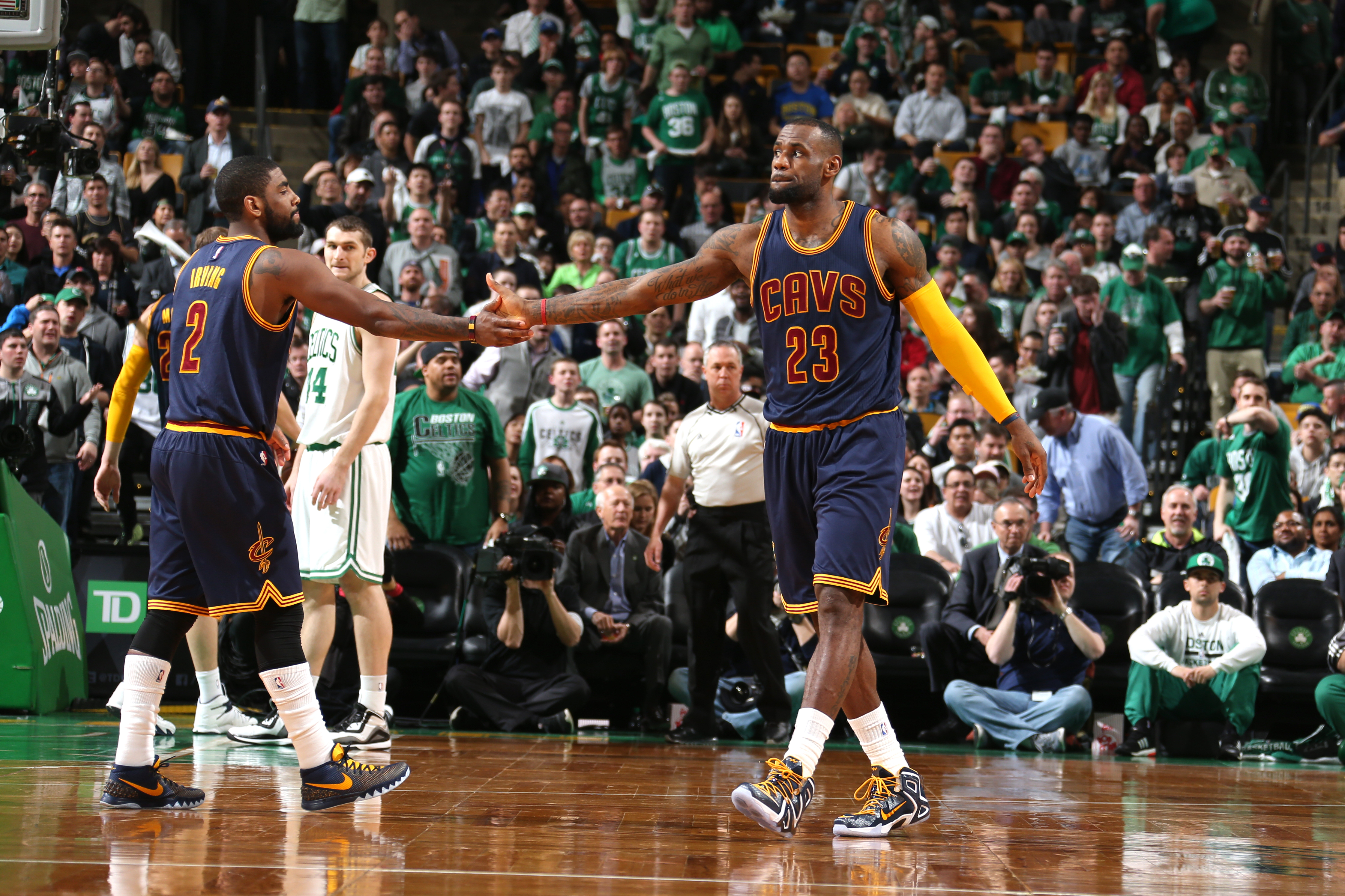 BOSTON, MA - APRIL 23:  Kyrie Irving #2 and LeBron James #23 of the Cleveland Cavaliers during the game against the Boston Celtics during Game Three of the Eastern Conference Quarterfinals of the 2015 NBA Playoffs on April 23, 2015 at the TD Garden in Bos