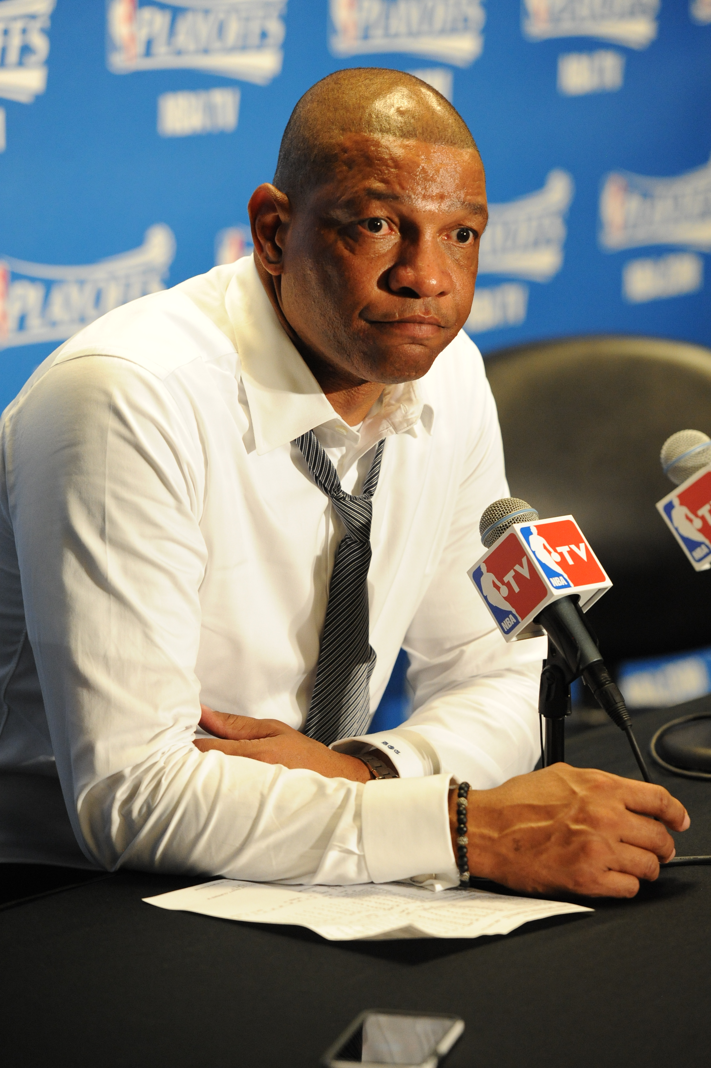 LOS ANGELES, CA - APRIL 28:  Head Coach Doc Rivers of the Los Angeles Clippers speaks to the media after Game Five of the Western Conference Quarterfinals against the San Antonio Spurs during the 2015 NBA Playoffs on April 28, 2015 at Staples Center in Lo