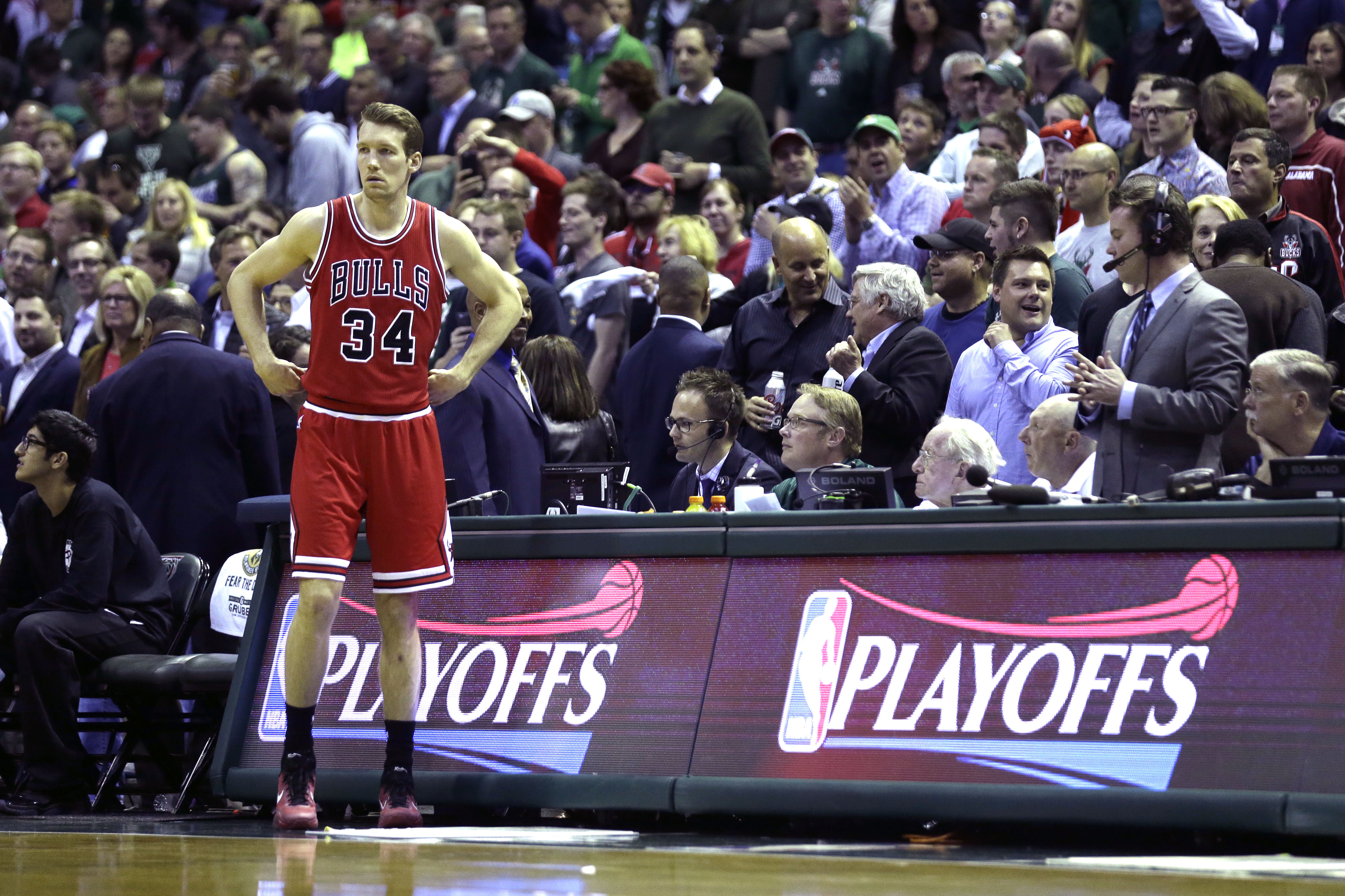 MILWAUKEE, WI - APRIL 30: Mike Dunleavy #34 of the Chicago Bulls walks onto the court before the start of the game against the Milwaukee Bucks during the first round of the 2015 NBA Playoffs at the BMO Harris Bradley Center on April 30, 2015 in Milwaukee,