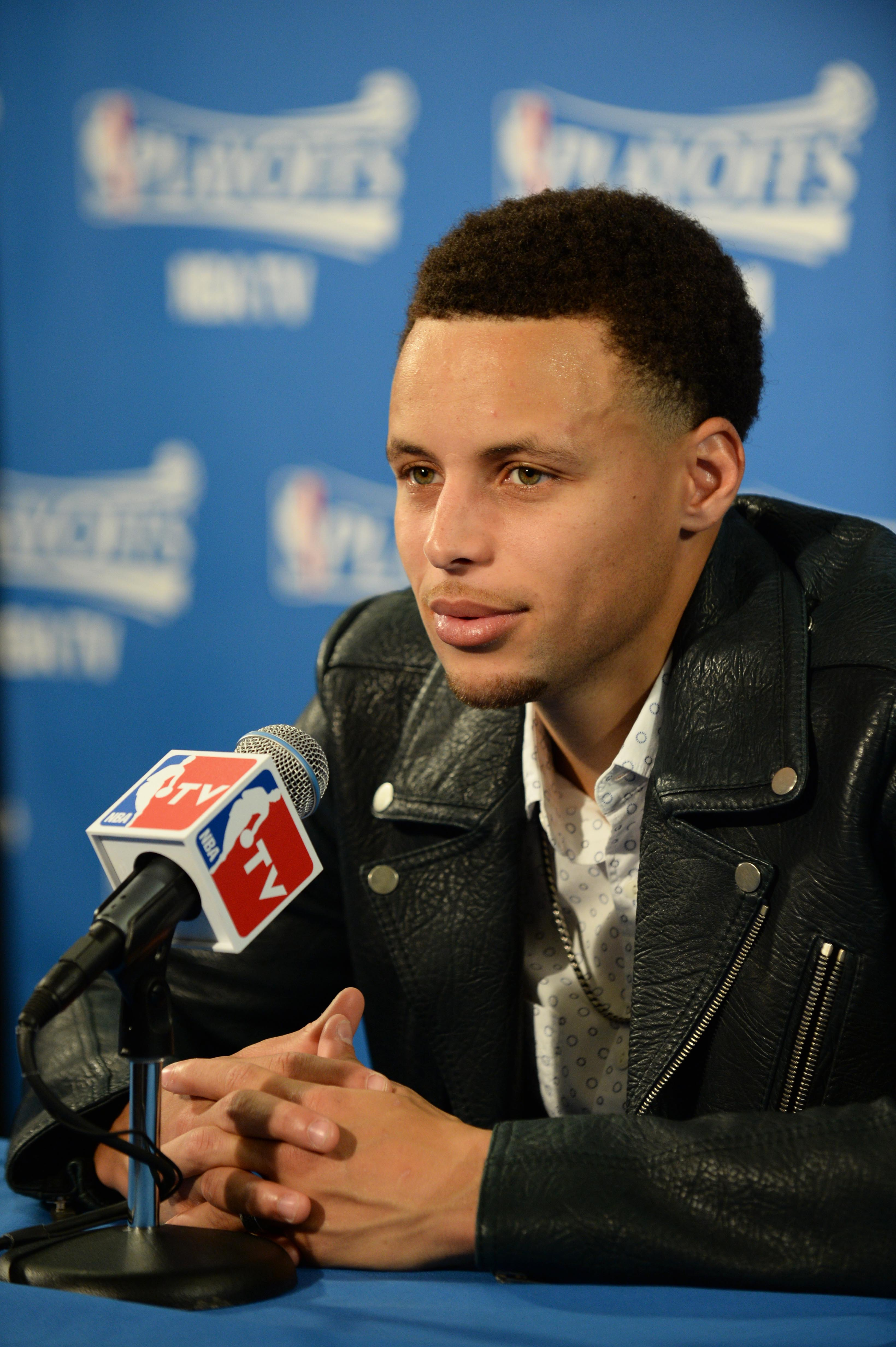 OAKLAND, CA MAY 3:  Stephen Curry #30 of the Golden State Warriors speaks to the media after the win against the Memphis Grizzlies in Game One of the Western Conference Semifinals of the 2015 NBA Playoffs on May 3, 2015 at Oracle Arena in Oakland, Califor