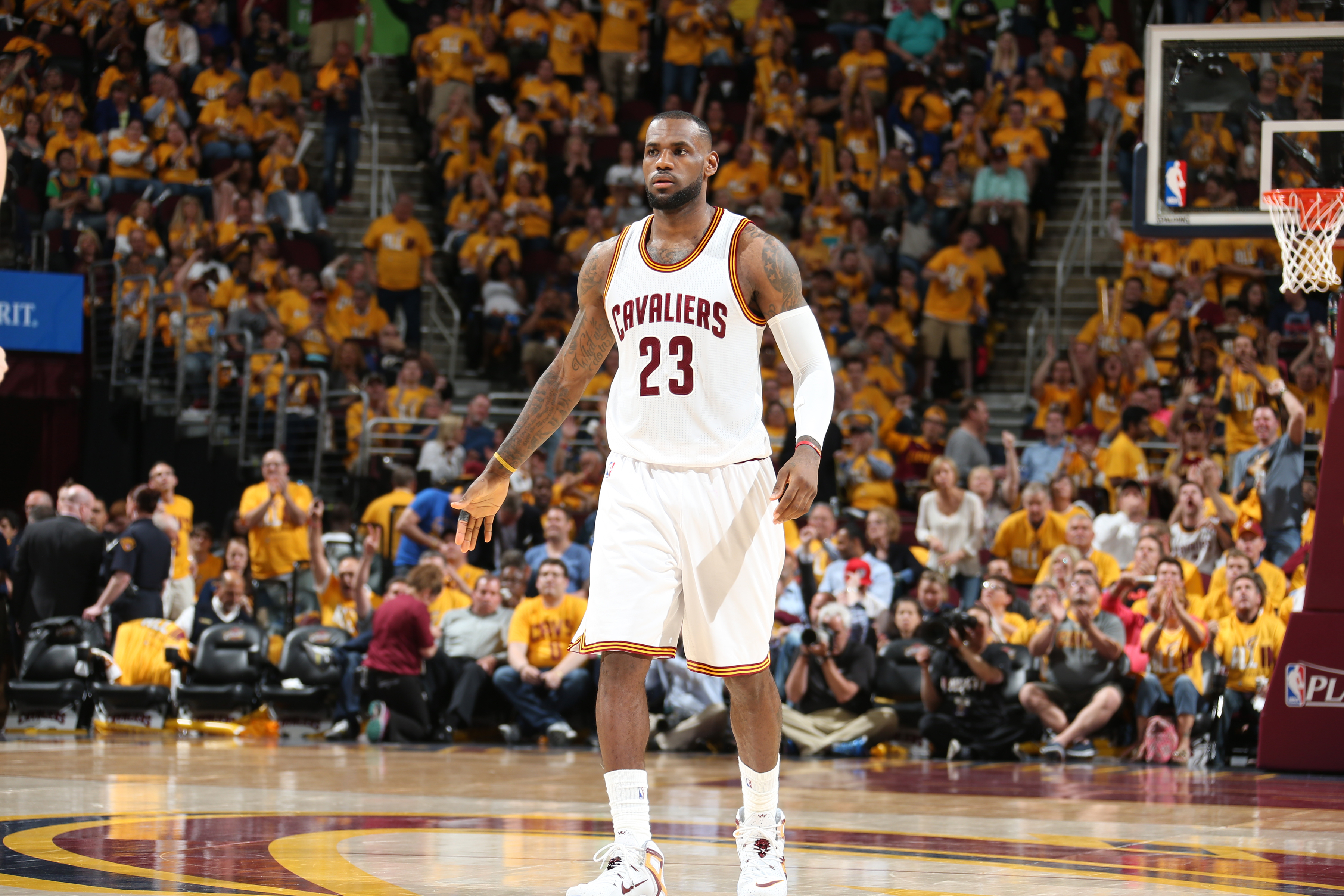 CLEVELAND, OH - MAY 4:  LeBron James #23 of the Cleveland Cavaliers in Game One of the Eastern Conference Semifinals against the Chicago Bulls during the 2015 NBA Playoffs on May 4, 2015 at Quicken Loans Arena in Cleveland, Ohio.  (Photo by Nathaniel S. B