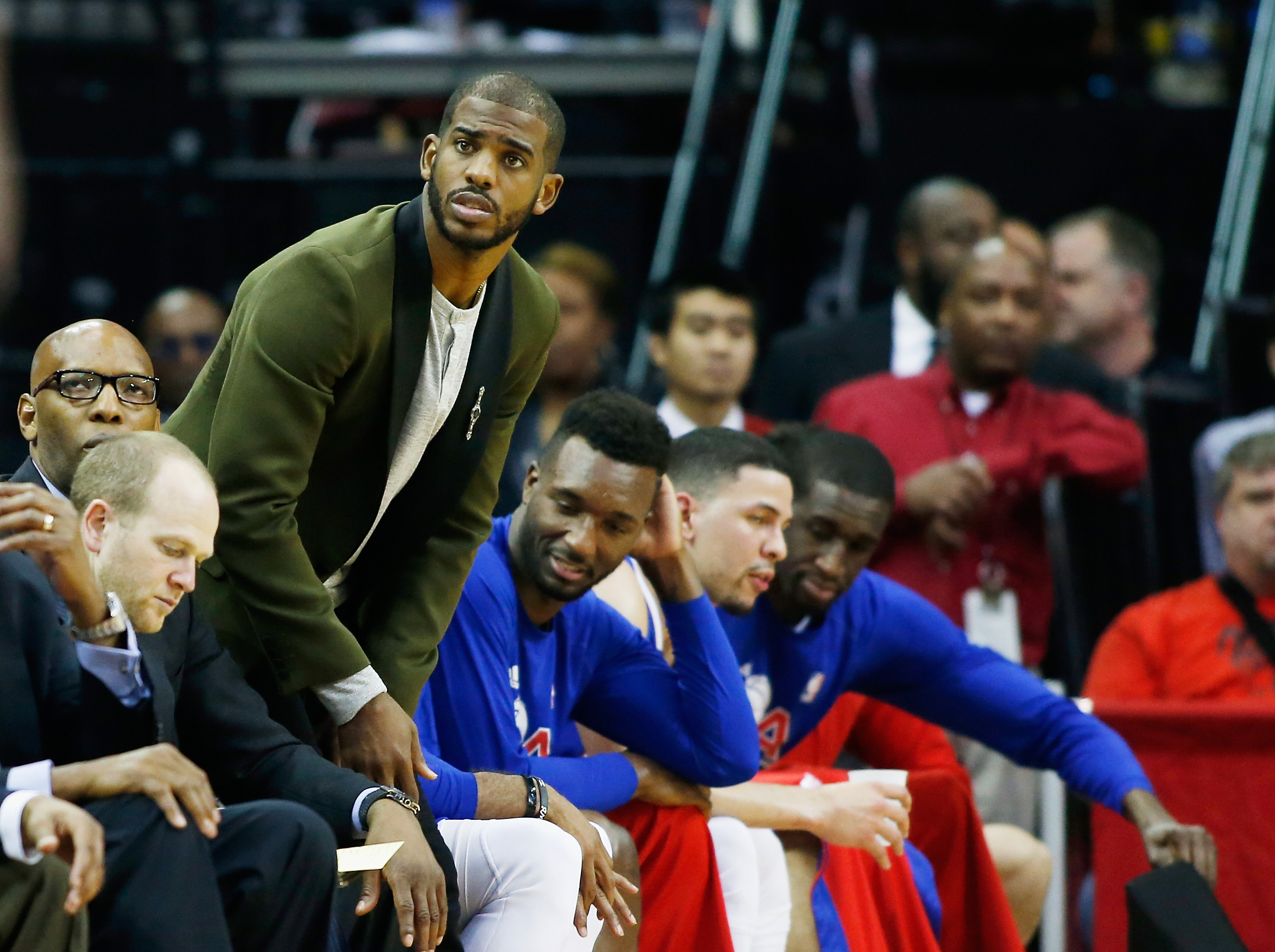 HOUSTON, TX - MAY 04:  Chris Paul #3 of the Los Angeles Clippers stands near the bench late in their game against the Houston Rockets during Game One in the Western Conference Semifinals of the 2015 NBA Playoffs on May 4, 2015 at the Toyota Center in Hous