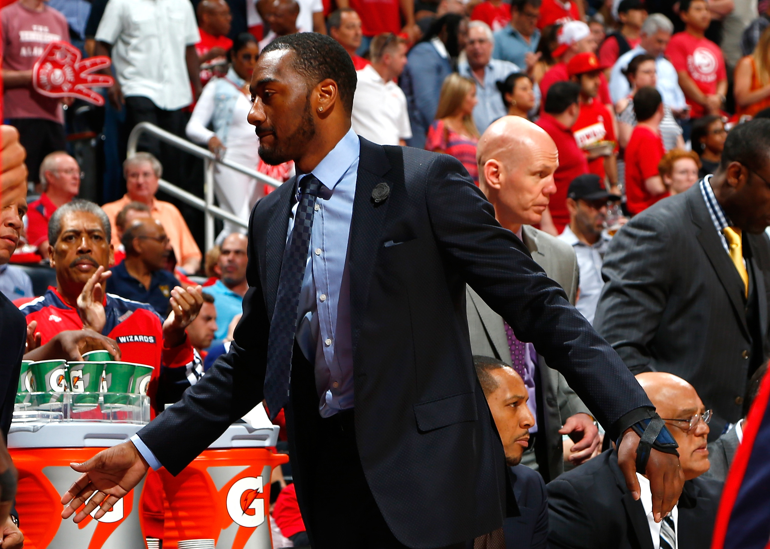 ATLANTA, GA - MAY 05:  John Wall #2 of the Washington Wizards walks the bench prior to Game Two of the Eastern Conference Semifinals of the 2015 NBA Playoffs against the Atlanta Hawks at Philips Arena on May 5, 2015 in Atlanta, Georgia.  (Photo by Kevin C