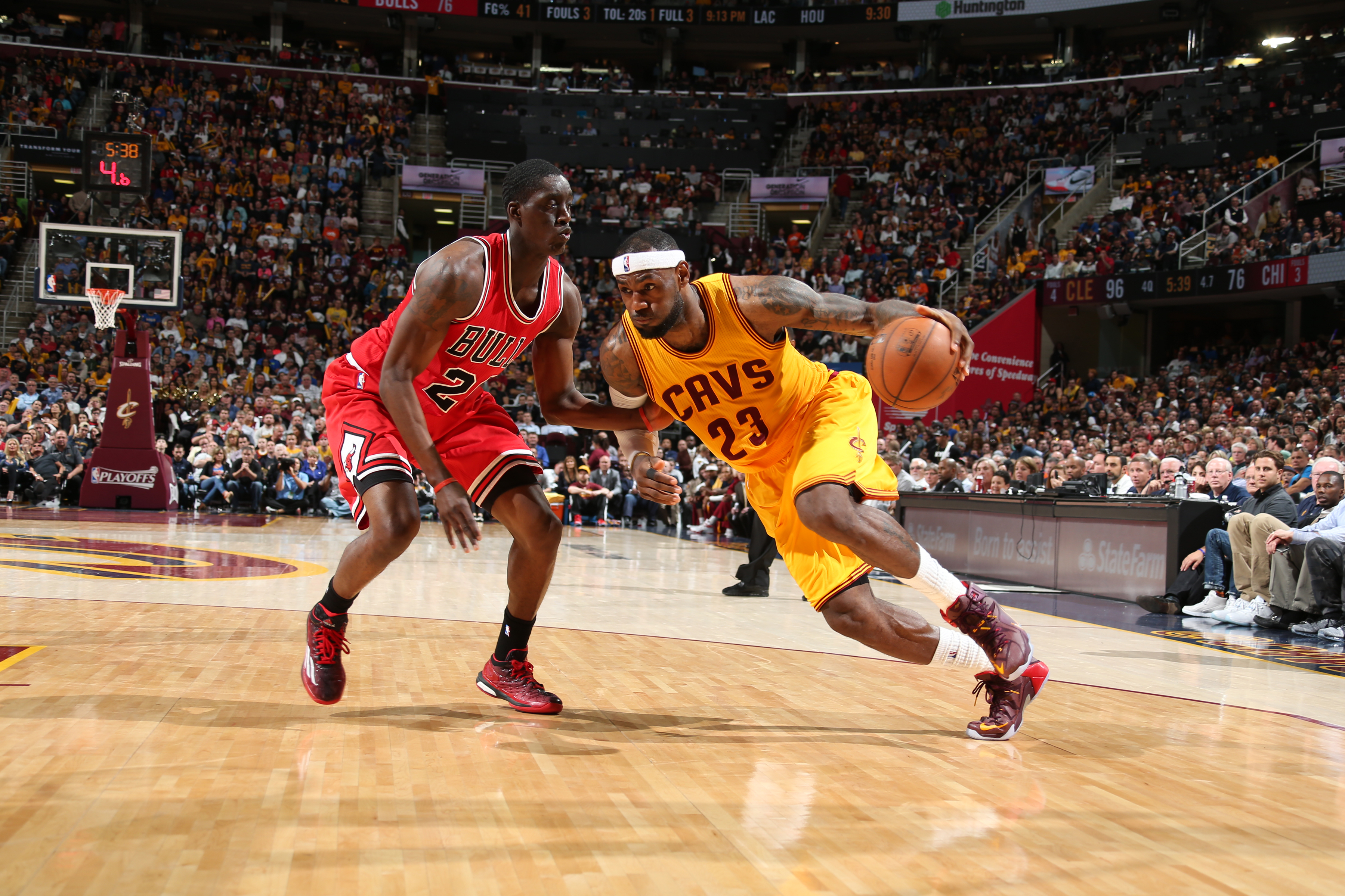 CLEVELAND, OH - MAY 6: LeBron James #23 of the Cleveland Cavaliers drives against Tony Snell #20 of the Chicago Bulls in Game Two of the Eastern Conference Semifinals during the 2015 NBA Playoffs on May 6, 2015 at Quicken Loans Arena in Cleveland, Ohio.