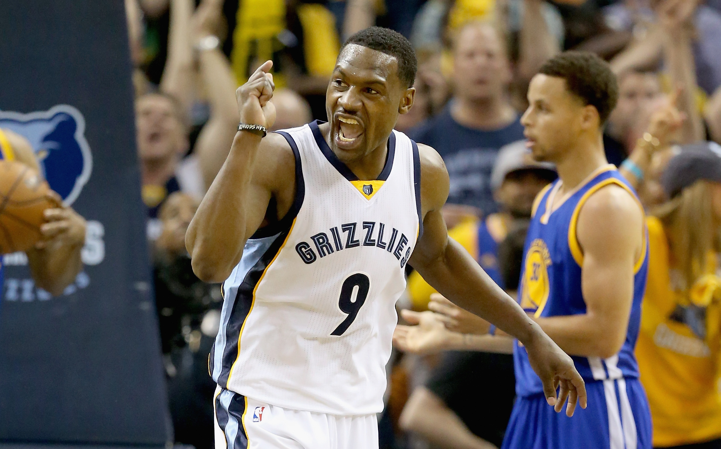 MEMPHIS, TN - MAY 09:  Tony Allen #9 of the Memphis Grizzlies celebrates after making a basket against the Golden State Warriors during Game three of the Western Conference Semifinals of the 2015 NBA Playoffs at FedExForum on May 9, 2015 in Memphis, Tenne