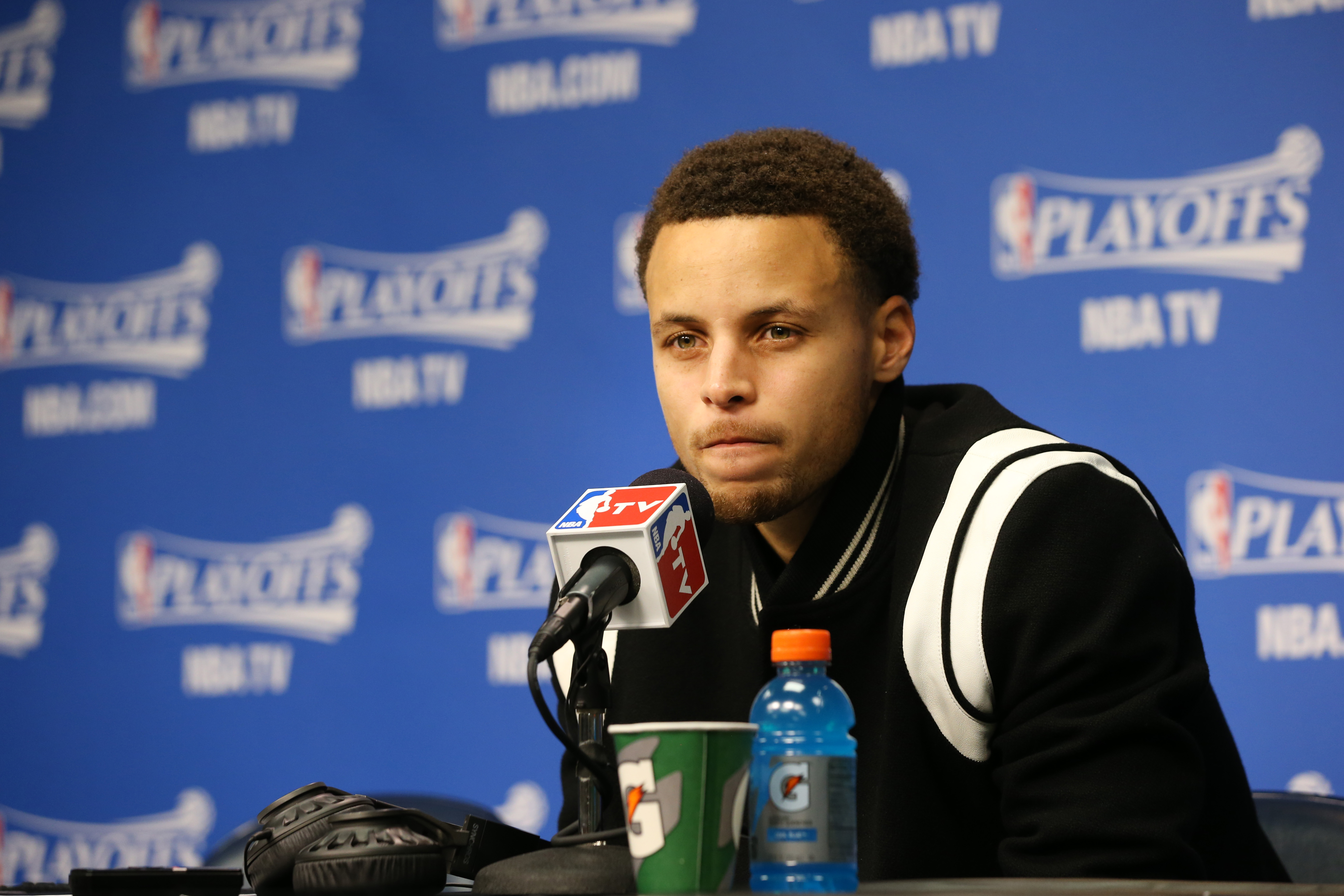 MEMPHIS, TN - MAY 9: Stephen Curry #30 of the Golden State Warriors speaks to press after the loss against the Memphis Grizzlies for Game Three of the Western Conference Semifinals during the NBA Playoffs on May 9, 2015 at FedExForum in Memphis, Tennessee