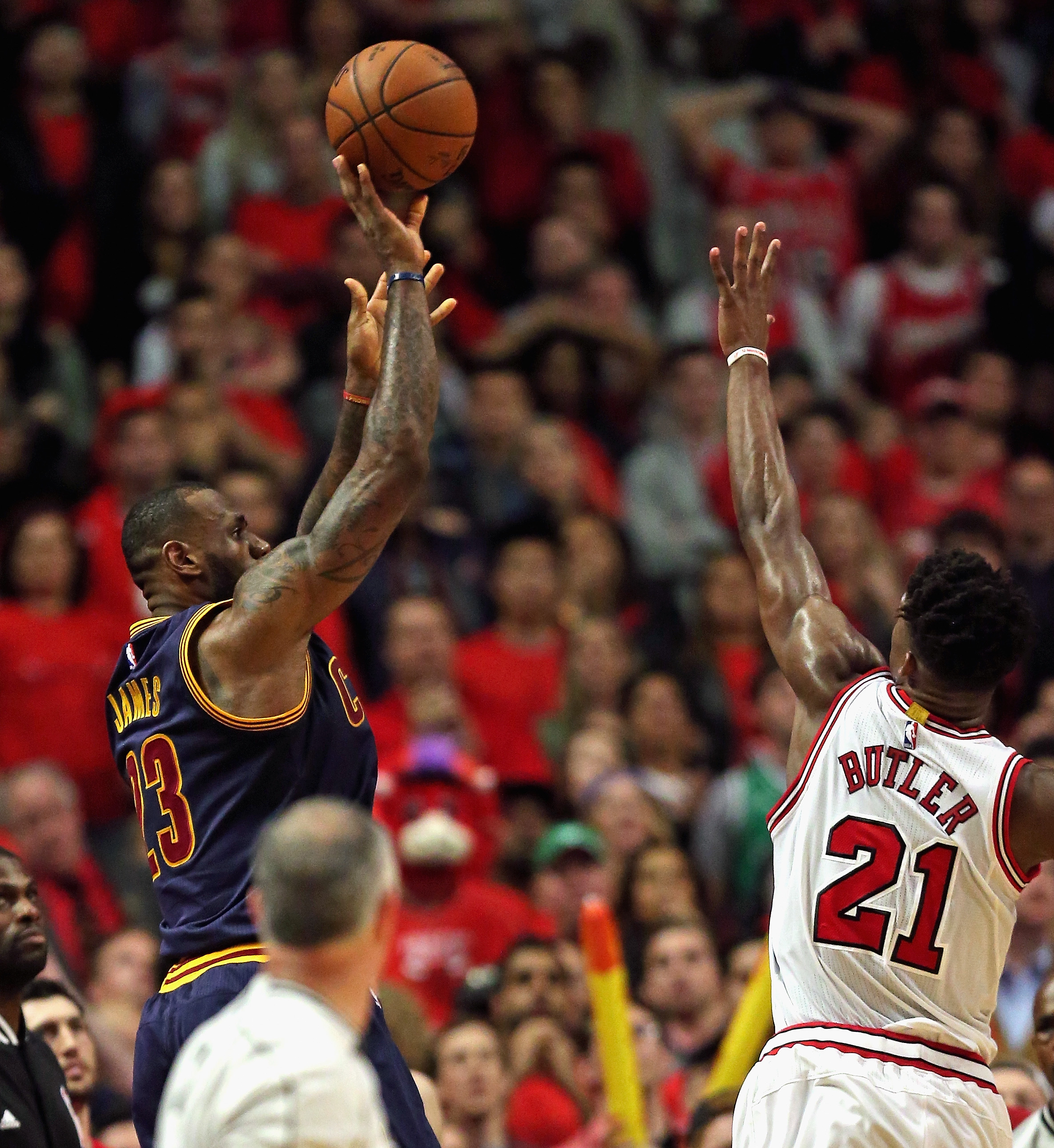 CHICAGO, IL - MAY 10: LeBron James #23 of the Cleveland Cavaliers shoots the game-winning, two point shot over Jimmy Butler #21 of the Chicago Bulls in Game Four of the Eastern Conference Semifinals of the 2015 NBA Playoffs at the United Center on May 10,