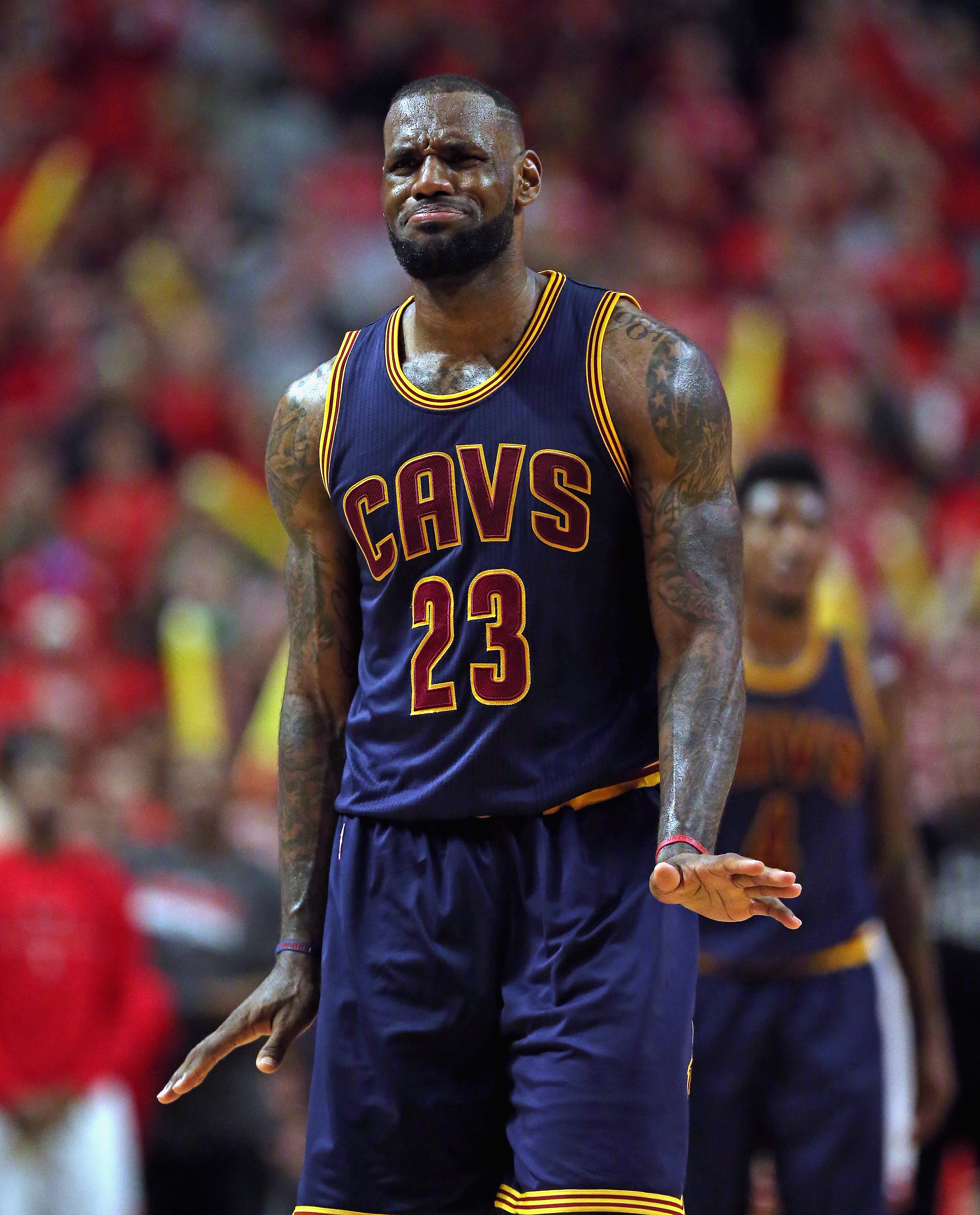 CHICAGO, IL - MAY 10: LeBron James #23 of the Cleveland Cavaliers reacts after being called for a foul against the Chicago Bulls in Game Four of the Eastern Conference Semifinals of the 2015 NBA Playoffs at the United Center on May 10, 2015 in Chicago, Il