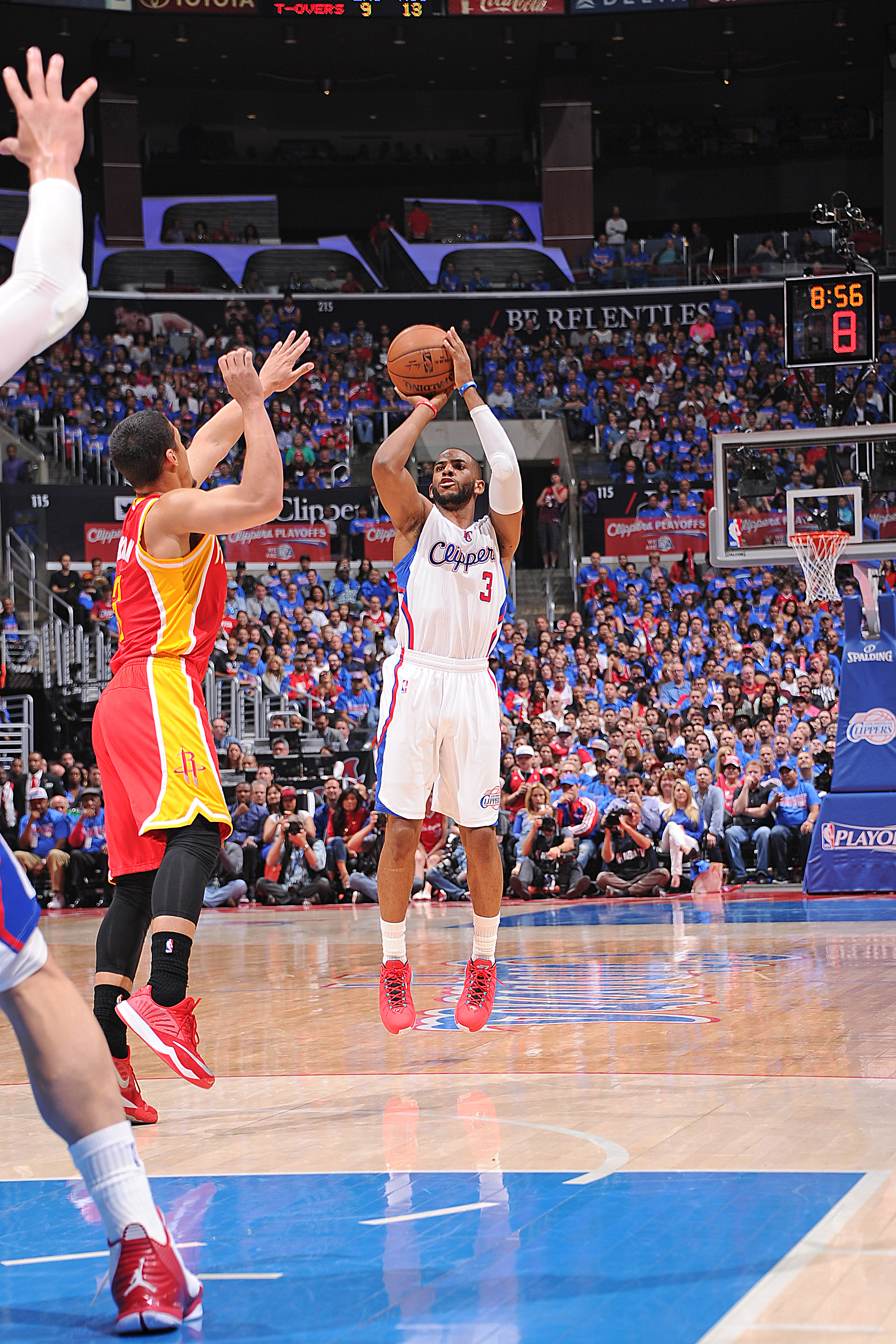 LOS ANGELES, CA - MAY 10:  Chris Paul #3 of the Los Angeles Clippers shoots the ball against the Houston Rockets in Game Four of the Western Conference Semifinals during the 2015 NBA Playoffs on May 10, 2015 at STAPLES Center in Los Angeles, California. (