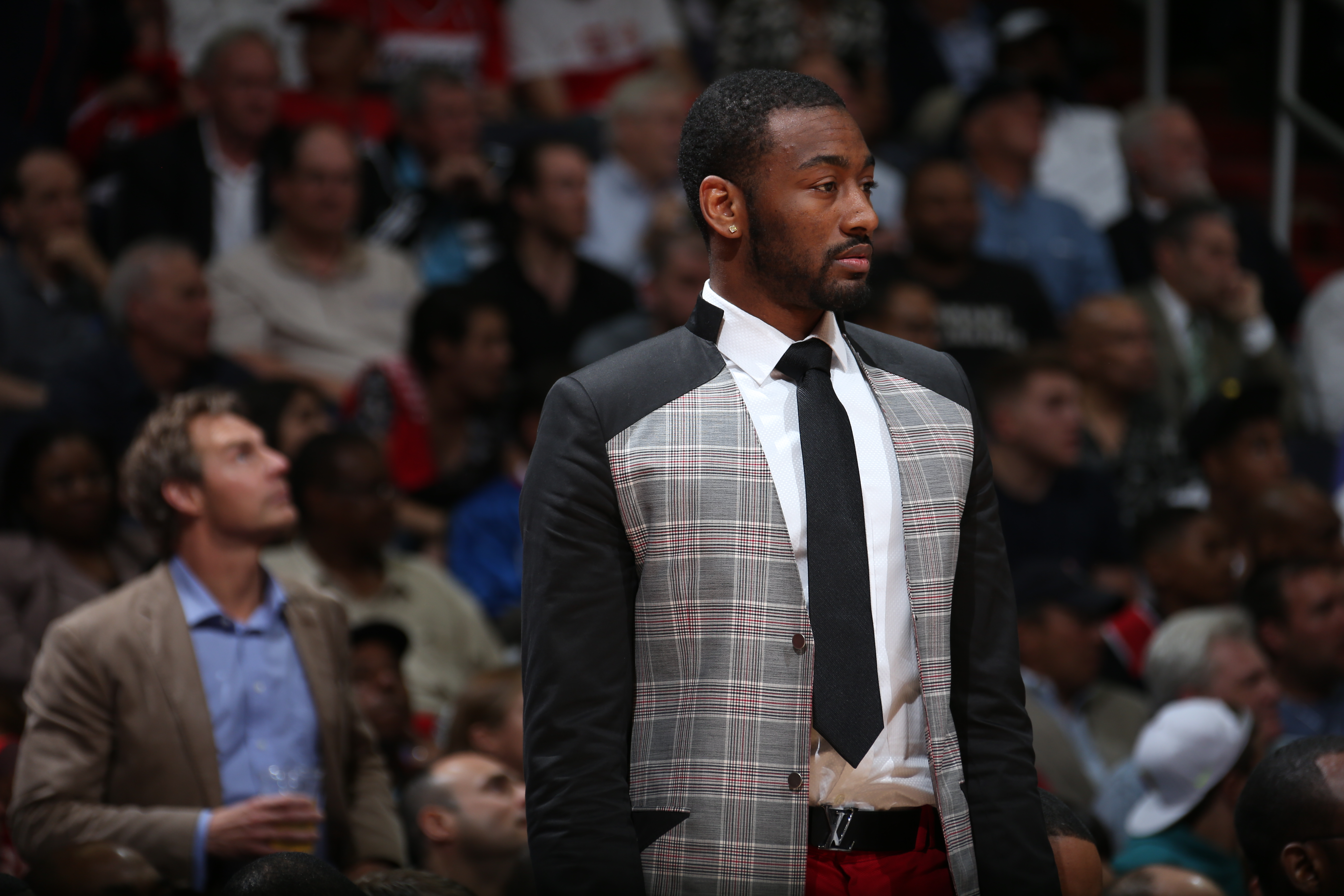 WASHINGTON, DC - MAY 11:  John Wall #2 of the Washington Wizards looks on against the Atlanta Hawks in Game Four of the Eastern Conference Semifinals during the 2015 NBA Playoffs on May 11, 2015 at the Verizon Center in Washington, DC. (Photo by Ned Dishm