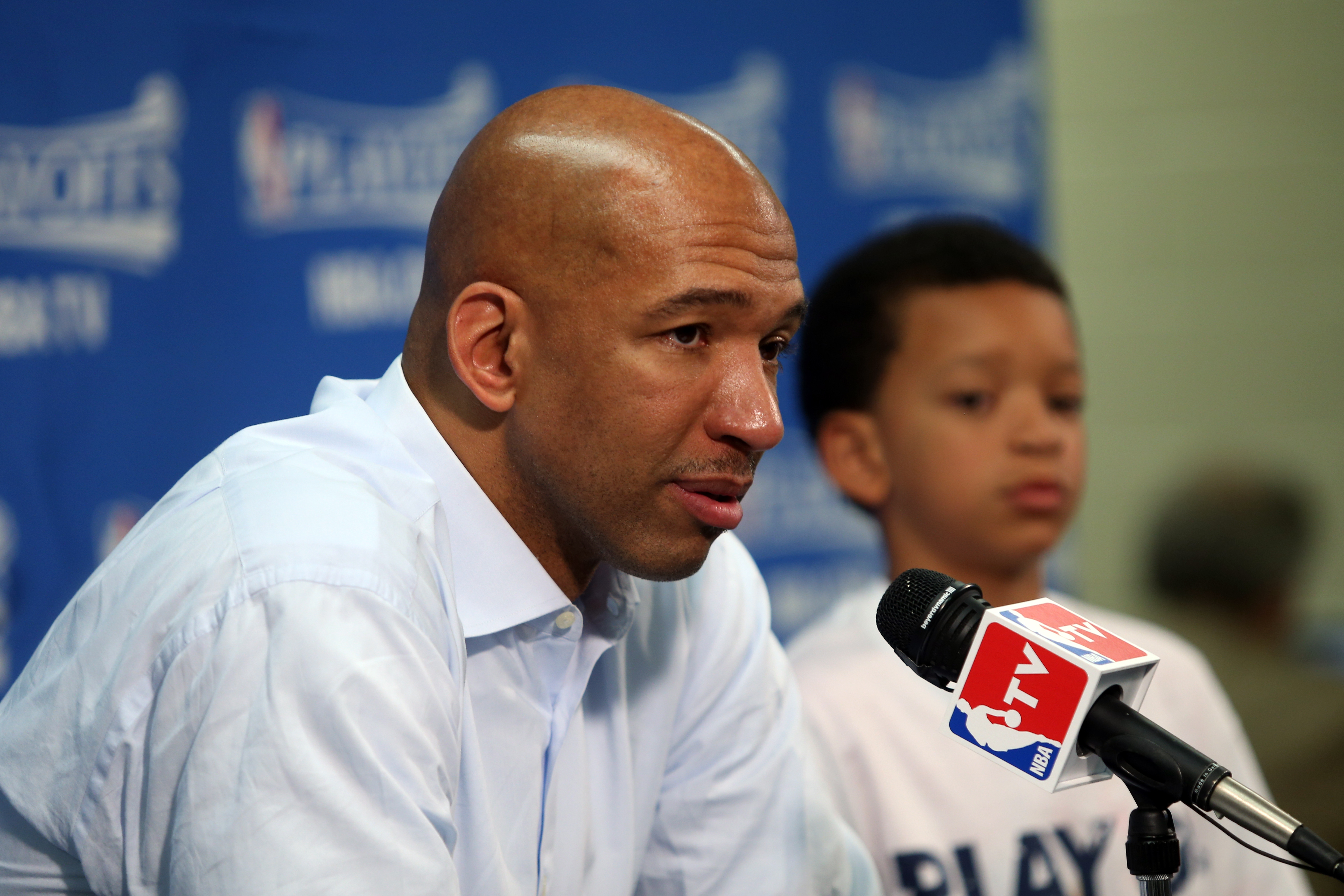 NEW ORLEANS, LA - APRIL 25:  Head Coach Monty Williams of the New Orleans Pelicans talks to the media after Game Four of the Western Conference Quarterfinals against the Golden State Warriors during the 2015 NBA Playoffs on April 25, 2015 at the Smoothie