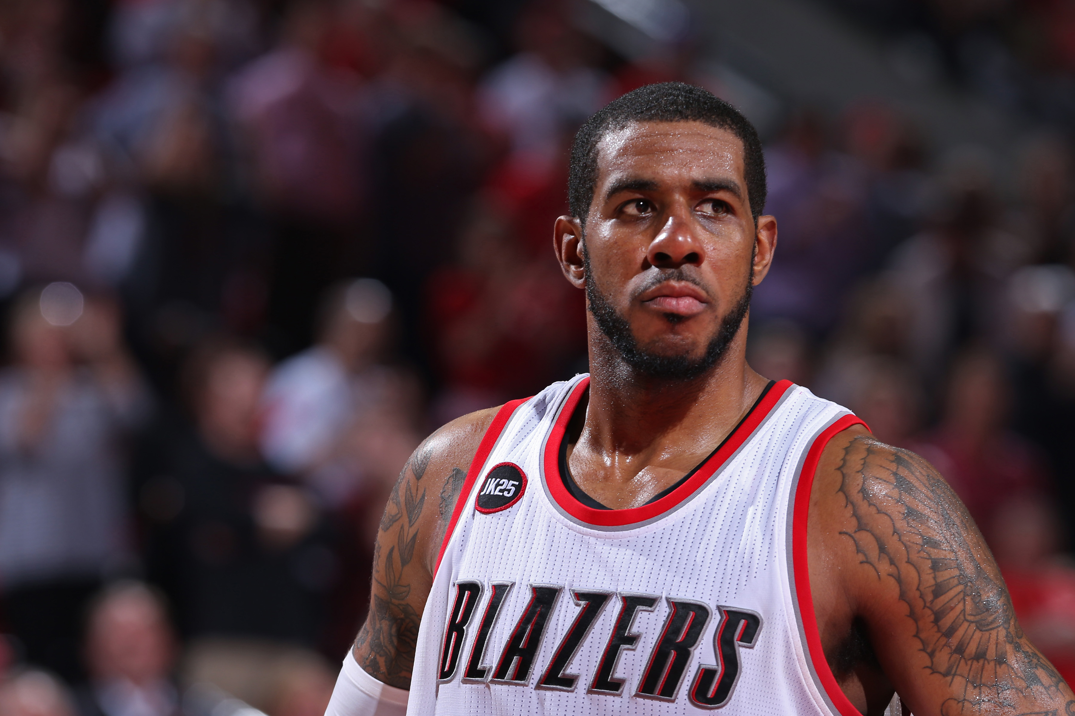 PORTLAND, OR - APRIL 27:   A close up shot of LaMarcus Aldridge #12 of the Portland Trail Blazers against the Memphis Grizzlies in Game Four of the Western Conference Quarterfinals during the 2015 NBA Playoffs on April 27, 2015 at the Moda Center in Portl