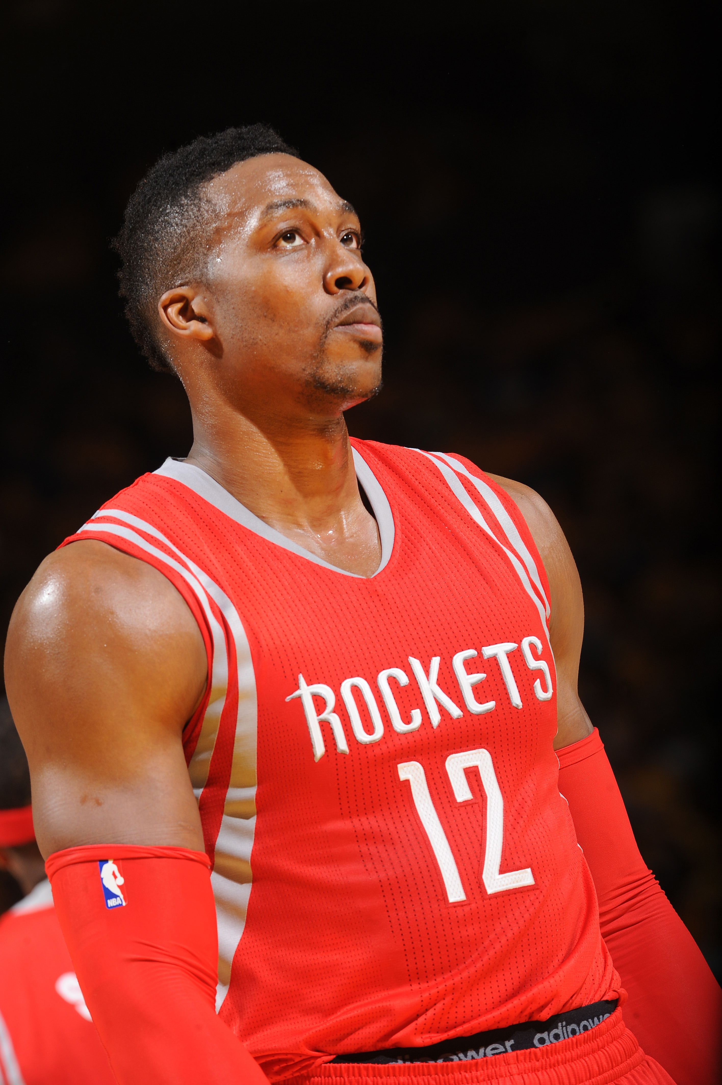 OAKLAND, CA - MAY 19: Dwight Howard #12 of the Houston Rockets during Game One of the Western Conference Finals against the Golden State Warriors during the NBA Playoffs on May 19, 2015 at ORACLE Arena in Oakland, California.  (Photo by Noah Graham/NBAE v