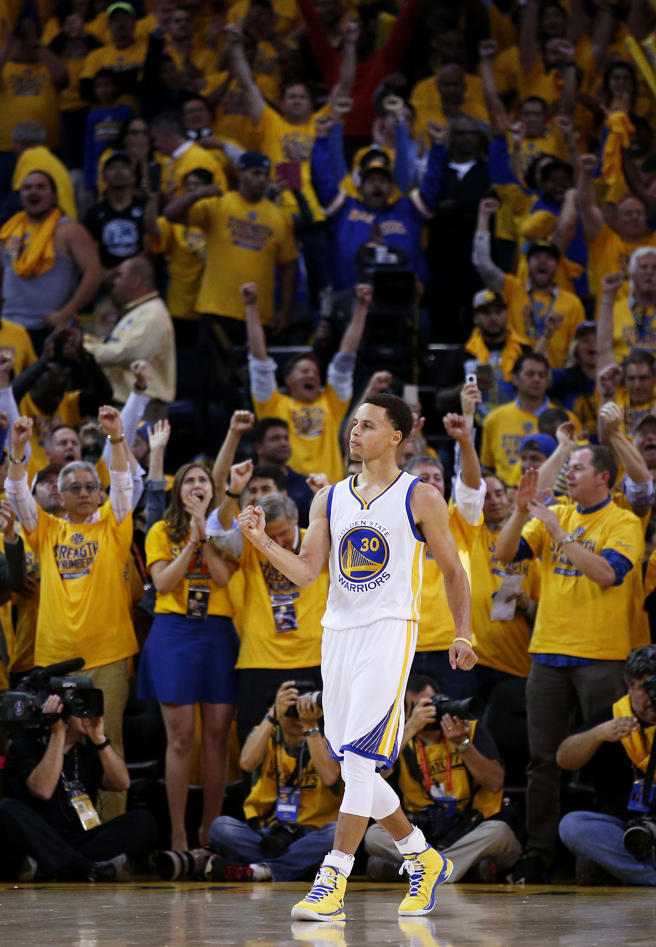 OAKLAND, CA - MAY 19:  Stephen Curry #30 of the Golden State Warriors celebrates their 110 to 106 win over the Houston Rockets during Game One of the Western Conference Finals of the 2015 NBA Playoffs at ORACLE Arena on May 19, 2015 in Oakland, California