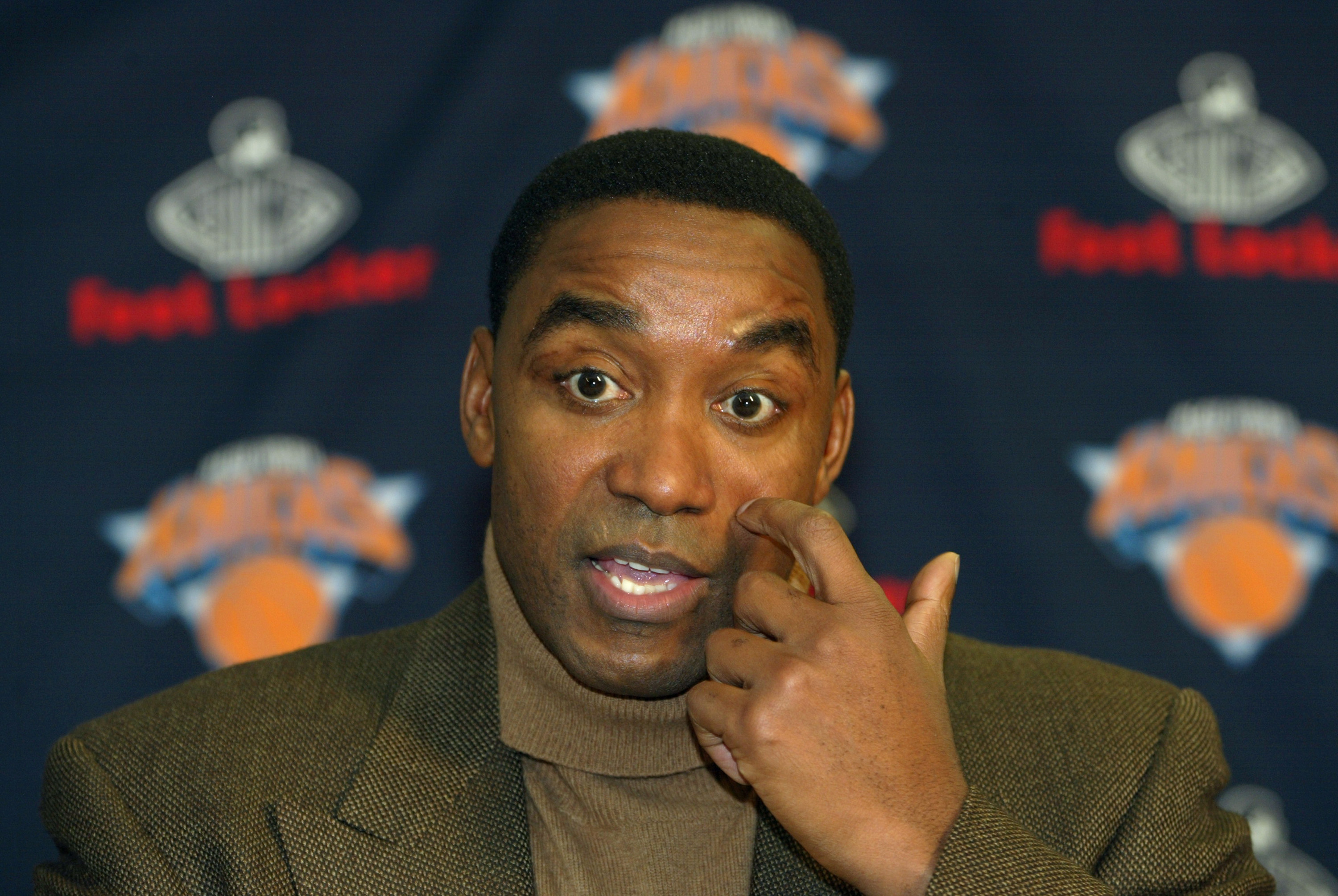 NEW YORK - JANUARY 14:  New York Knicks Team President and General Manager Isiah Thomas speaks to the media during a press conference to announce that basketball Hall of Famer Lenny Wilkens will replace Don Chaney as head coach prior to the Knicks game ag