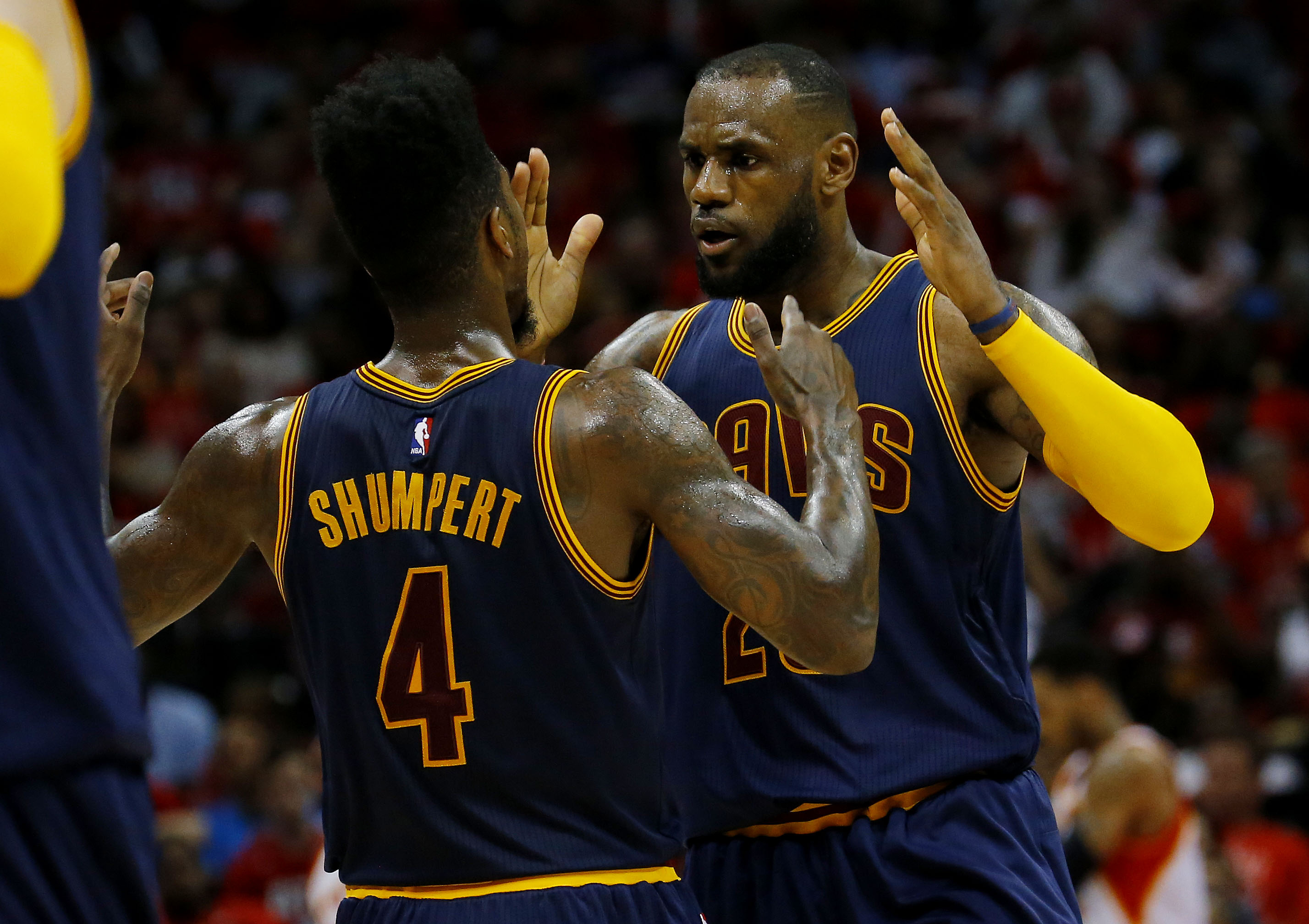 ATLANTA, GA - MAY 22:  LeBron James #23 celebrates with Iman Shumpert #4 of the Cleveland Cavaliers after scoring in the second quarter against the Atlanta Hawks during Game Two of the Eastern Conference Finals of the 2015 NBA Playoffs at Philips Arena on