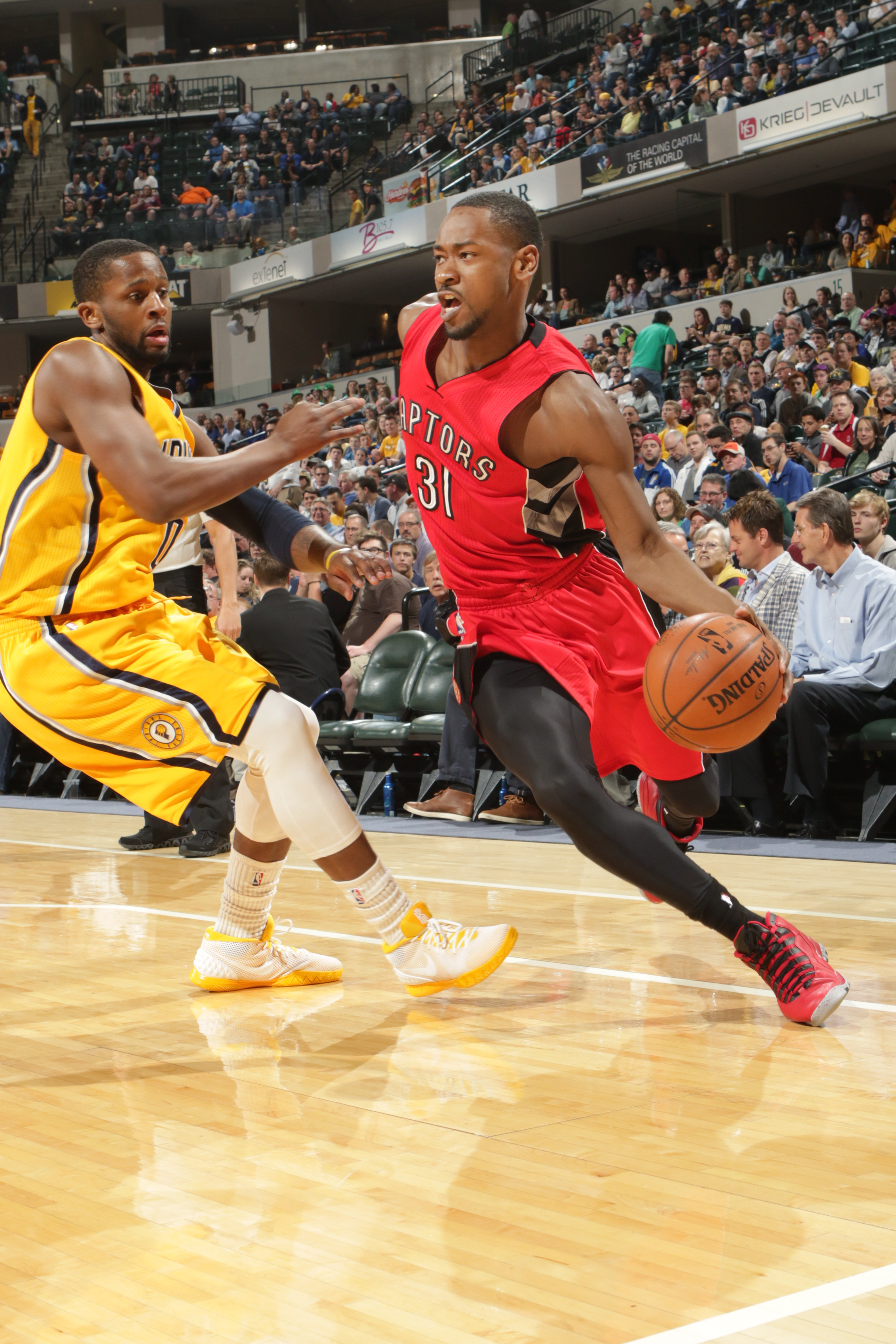 INDIANAPOLIS, IN - MARCH 16: Terrence Ross #31 of the Toronto Raptors drives to the basket against the Indiana Pacers during the game on March 16, 2015 at Bankers Life Fieldhouse in Indianapolis, Indiana. (Photo by Ron Hoskins/NBAE via Getty Images)