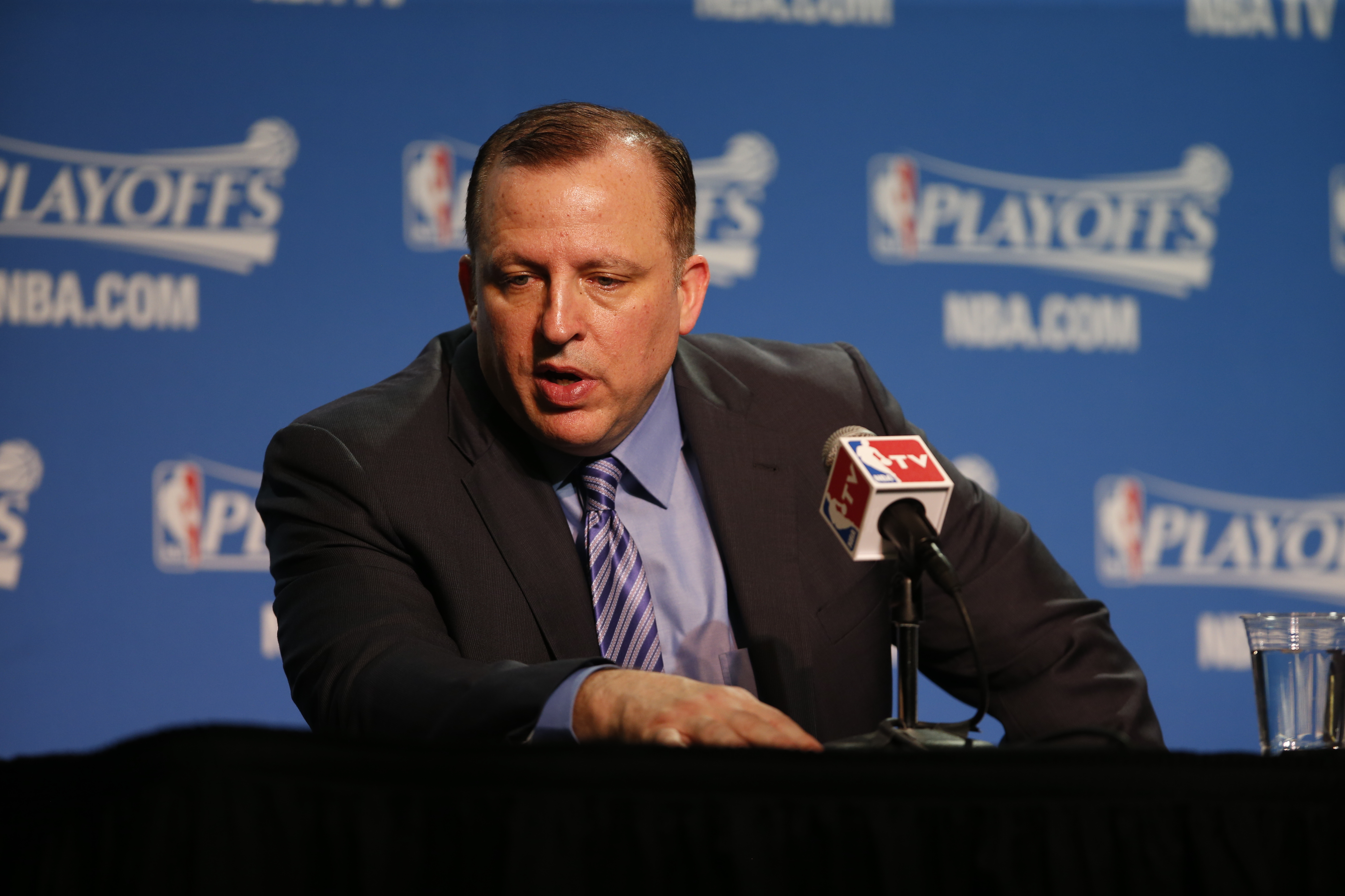 CLEVELAND, OH - MAY 12:  Head coach Tom Thibodeau of the Chicago Bulls speaks at the post game press conference after Game Five of the Eastern Conference Semifinals against the Cleveland Cavaliers during the 2015 NBA Playoffs on May 12, 2015 at The Quicke