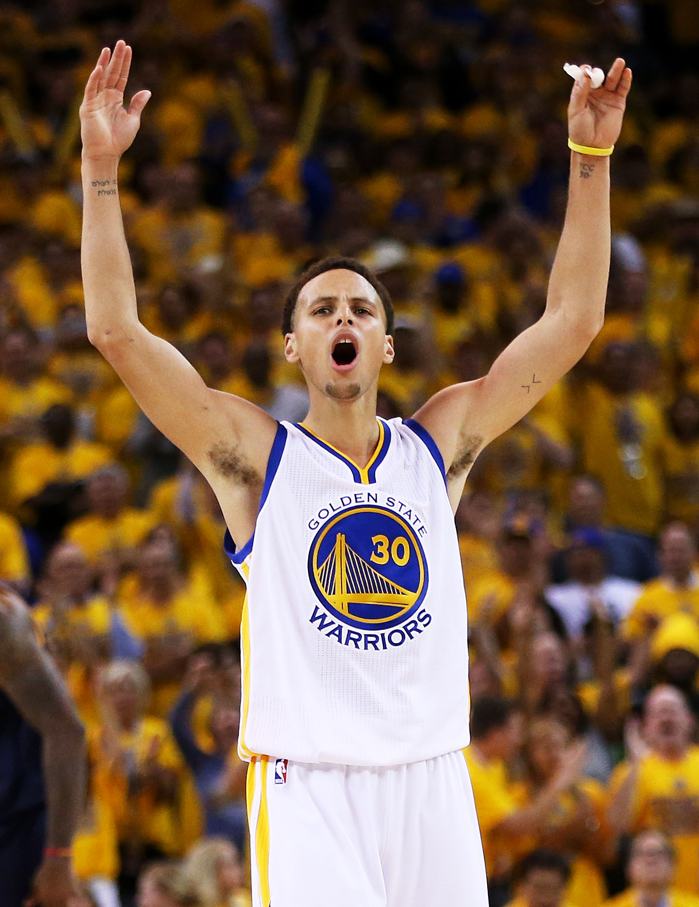 OAKLAND, CA - JUNE 04:  Stephen Curry #30 of the Golden State Warriors reacts in overtime against the Cleveland Cavaliers during Game One of the 2015 NBA Finals at ORACLE Arena on June 4, 2015 in Oakland, California. (Photo by Ezra Shaw/Getty Images)