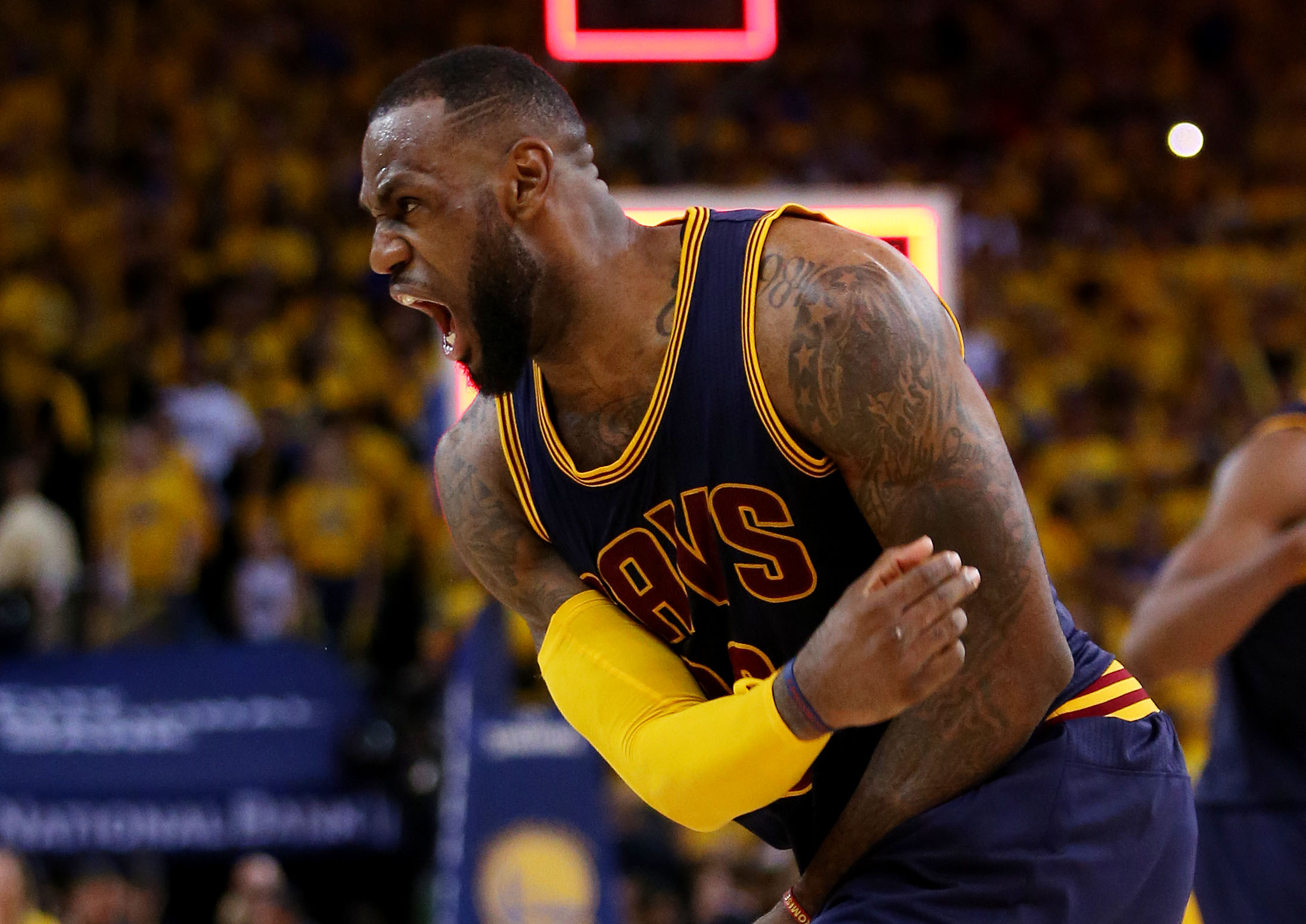 OAKLAND, CA - JUNE 07:  LeBron James #23 of the Cleveland Cavaliers celebrates their 95 to 93 win over the Golden State Warriors in overtime  during Game Two of the 2015 NBA Finals at ORACLE Arena on June 7, 2015 in Oakland, California. (Photo by Ezra Sha