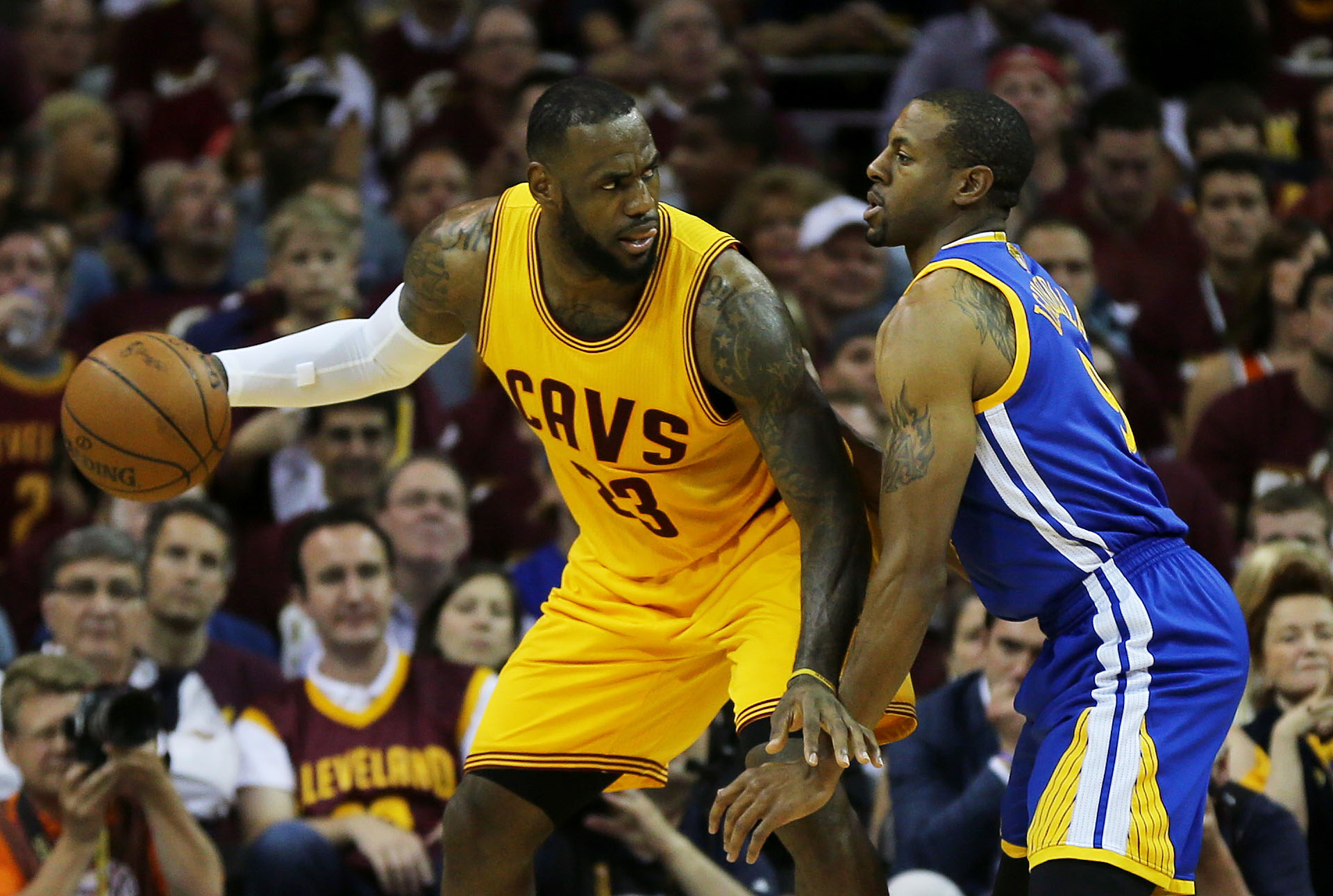 CLEVELAND, OH - JUNE 09:  LeBron James #23 of the Cleveland Cavaliers drives against Andre Iguodala #9 of the Golden State Warriors in the first quarter during Game Three of the 2015 NBA Finals at Quicken Loans Arena on June 9, 2015 in Cleveland, Ohio.  (