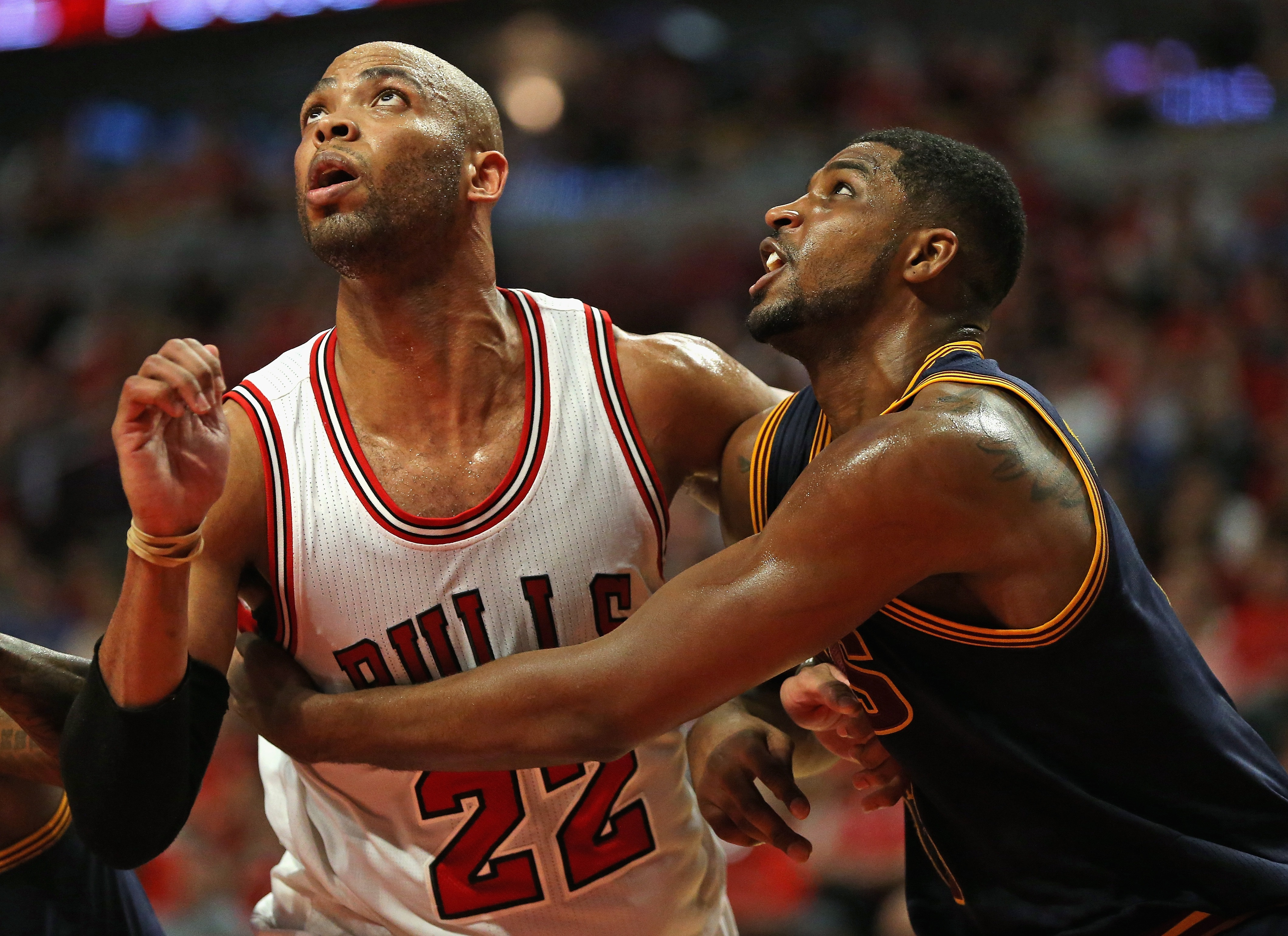 CHICAGO, IL - MAY 08: in Game Three of the Eastern Conference Semifinals of the 2015 NBA Playoffs at the United Center on May 8, 2015 in Chicago, Illinois. The Bulls defeated the Cavaliers 99-96. (Photo by Jonathan Daniel/Getty Images)