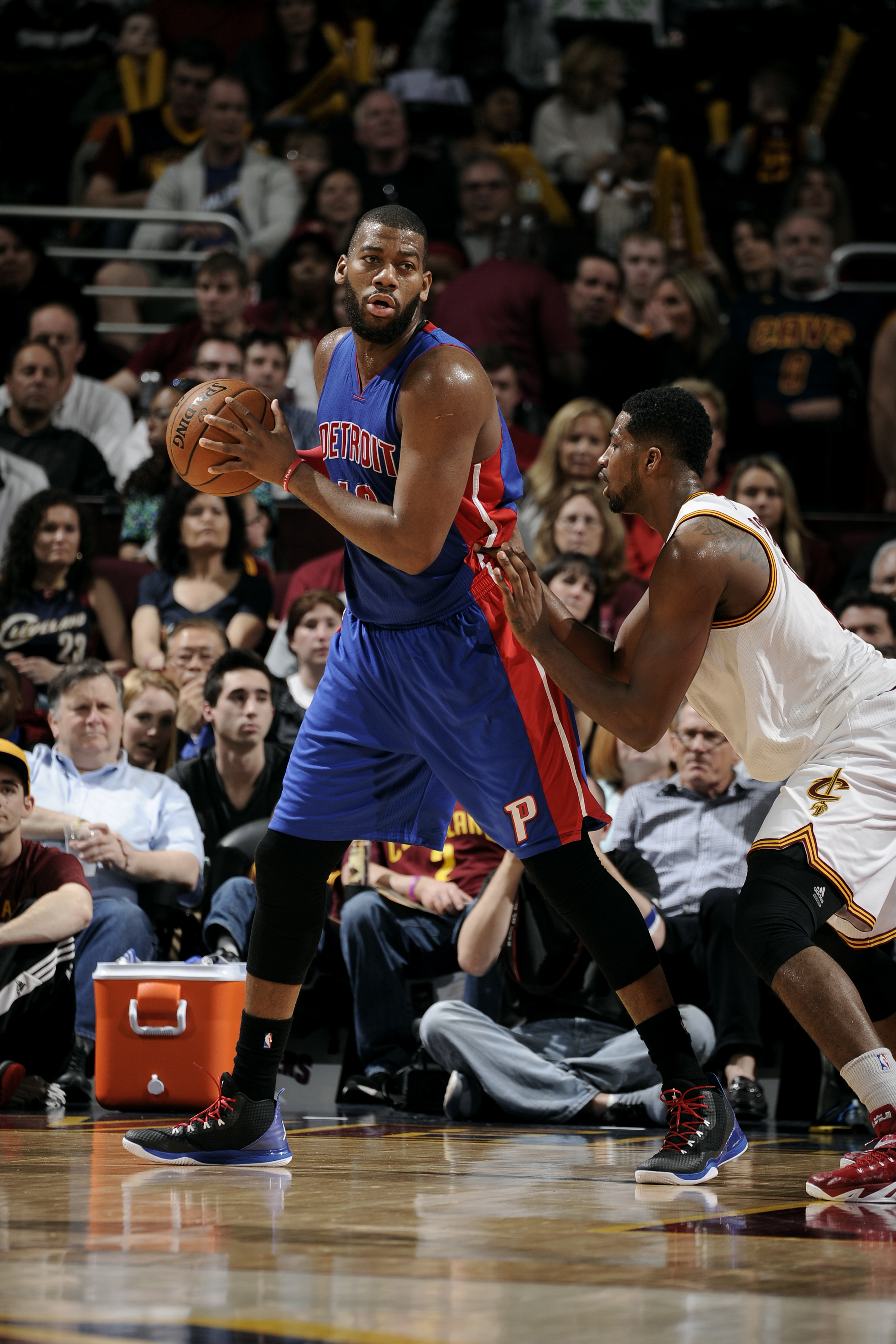 CLEVELAND, OH - APRIL 13: Greg Monroe #10 of the Detroit Pistons handles the ball against the Cleveland Cavaliers at The Quicken Loans Arena on April 13, 2015 in Cleveland, Ohio. (Photo by David Liam Kyle/NBAE via Getty Images)