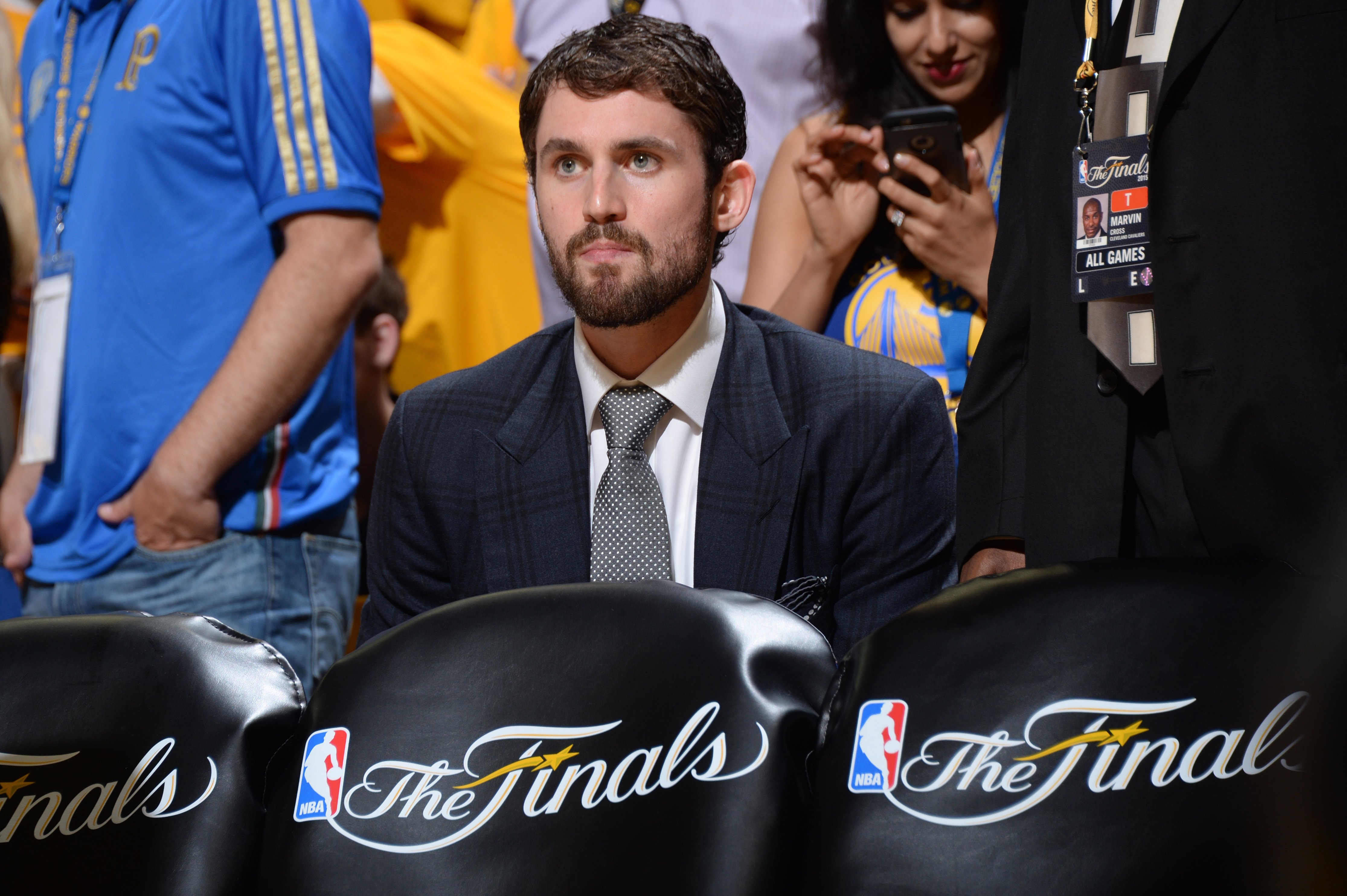 OAKLAND, CA - JUNE 4: Kevin Love #0 of the Cleveland Cavaliers sits on the bench during Game One of the 2015 NBA Finals on June 4, 2015 at Oracle Arena in Oakland, California. (Photo by Andrew D. Bernstein/NBAE via Getty Images)