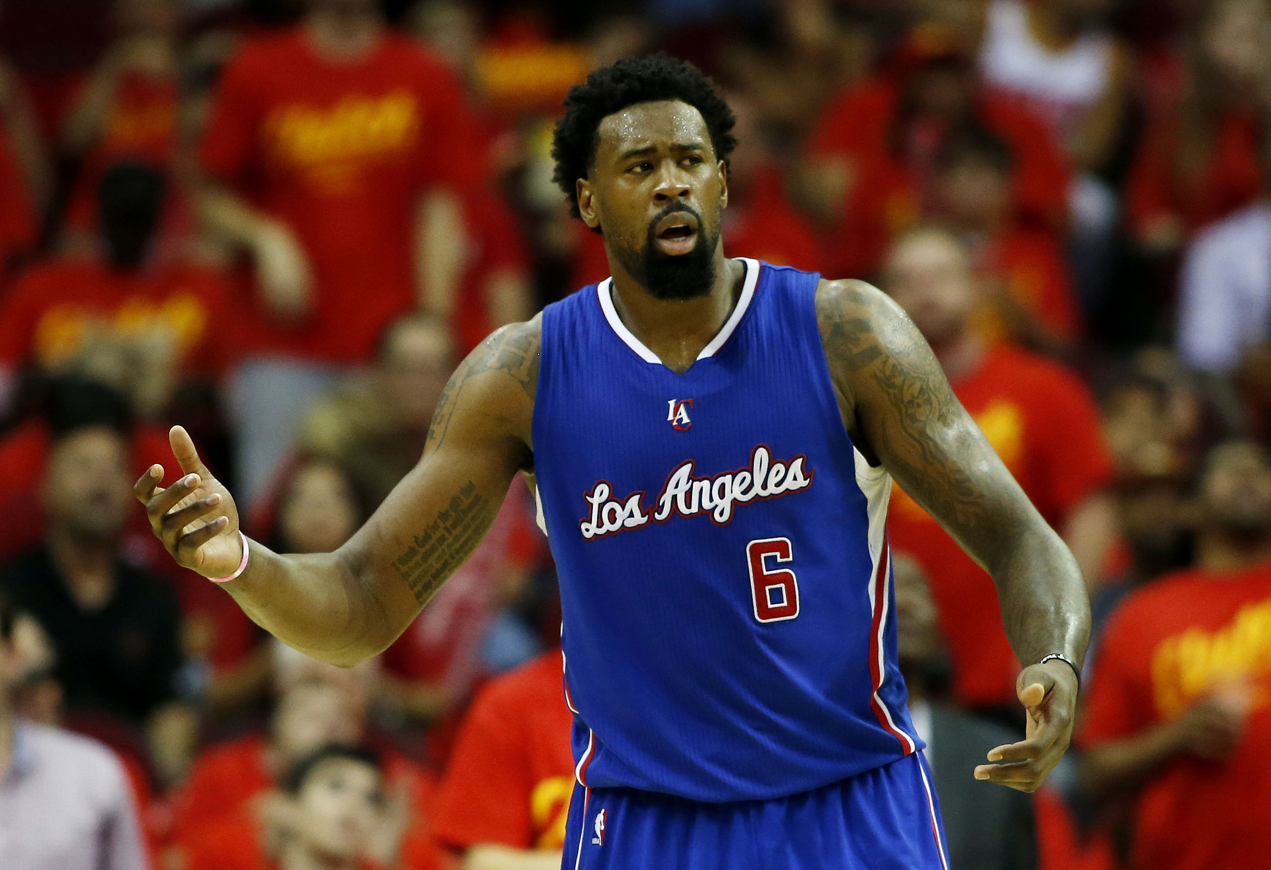 HOUSTON, TX - MAY 17:  DeAndre Jordan #6 of the Los Angeles Clippers reacts in the third quarter against the Houston Rockets during Game Seven of the Western Conference Semifinals at the Toyota Center for the 2015 NBA Playoffs on May 17, 2015 in Houston,