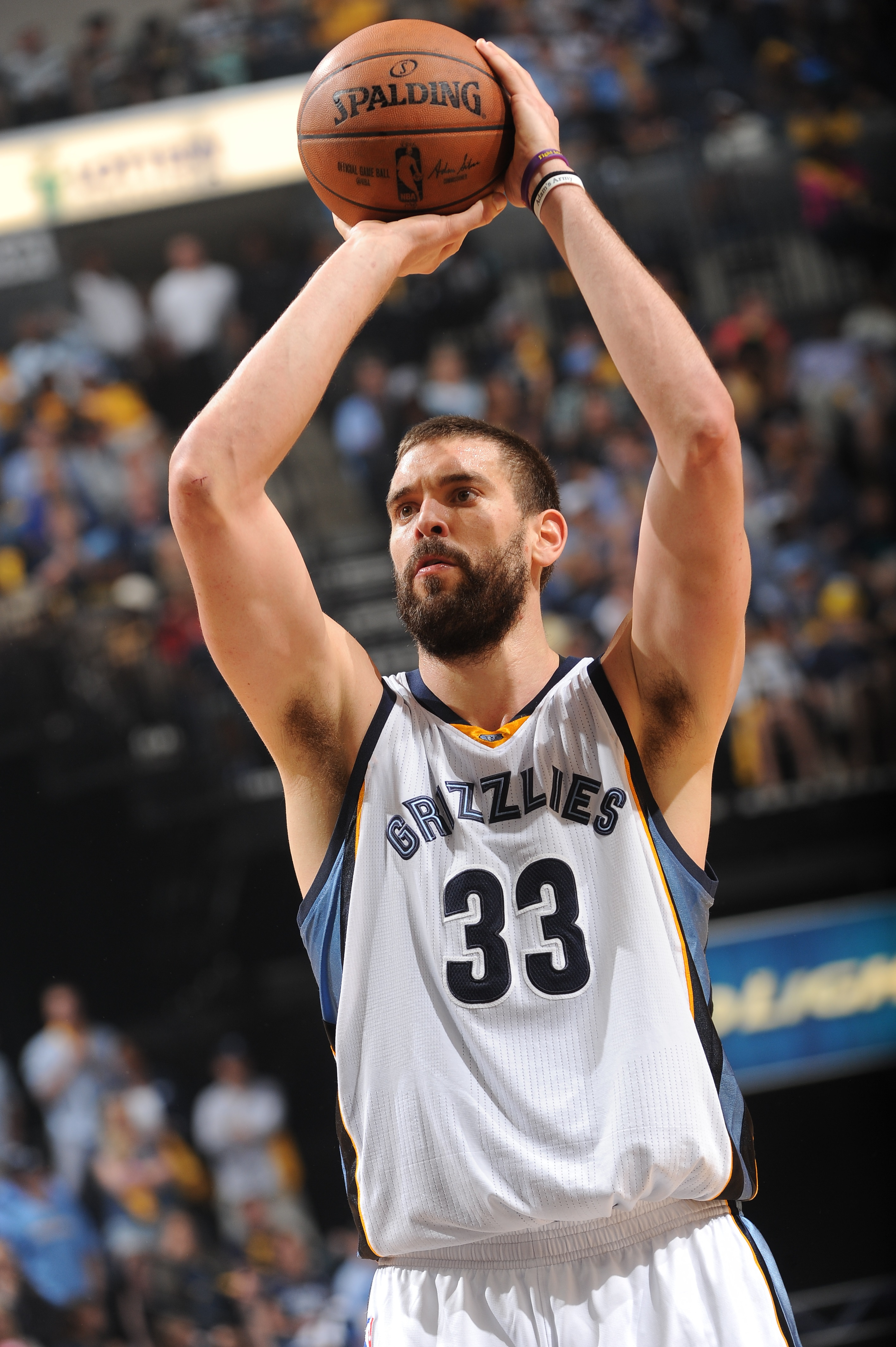 MEMPHIS, TN - MAY 15:  Marc Gasol #33 of the Memphis Grizzlies prepares to shoot a free throw against the Golden State Warriors in Game Six of the Western Conference Semifinals during the 2015 NBA Playoffs on May 15, 2015 at the FedExForum in Memphis, Ten