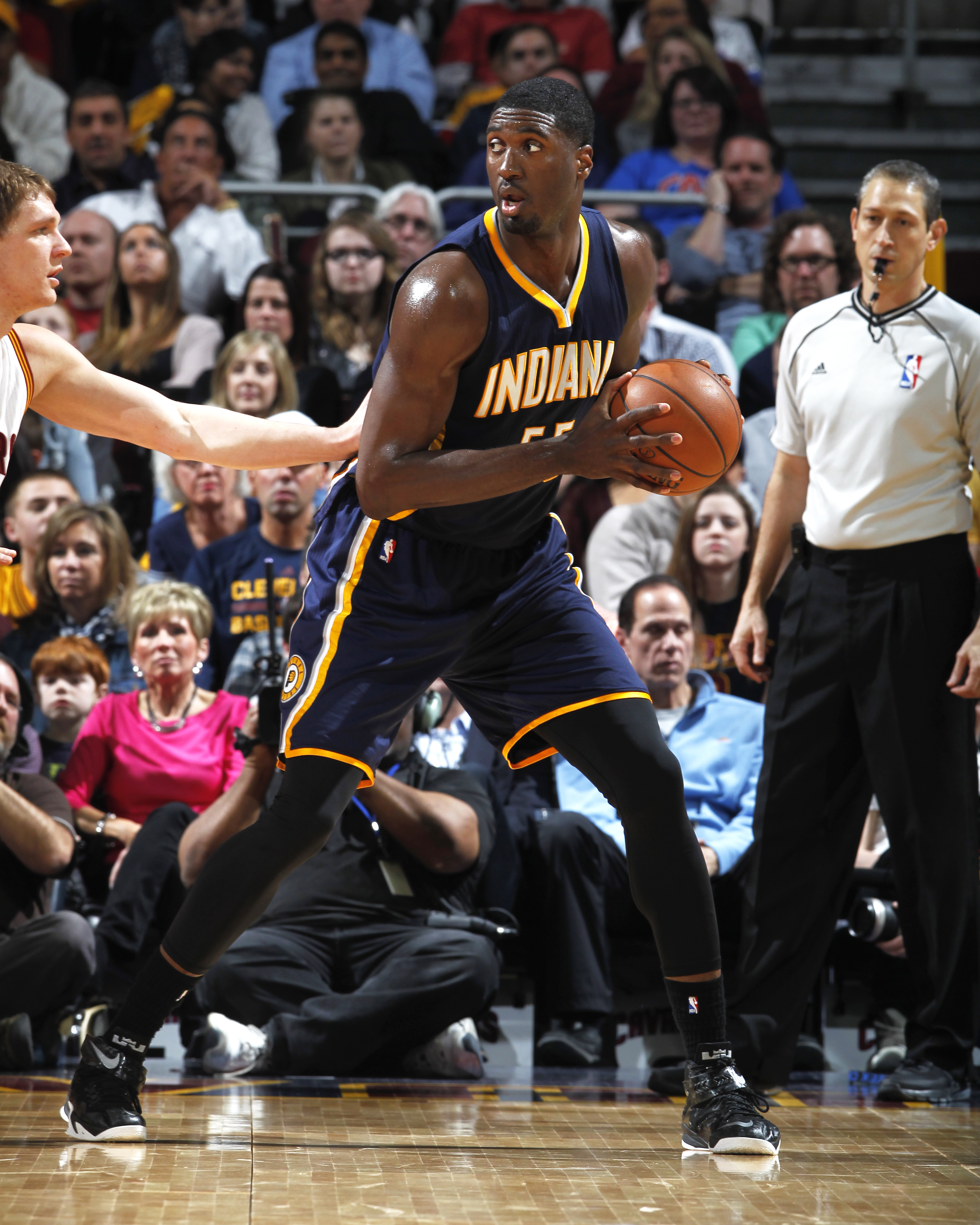 CLEVELAND, OH - MARCH 20: Roy Hibbert #55 of the Indiana Pacers handles the ball against the Cleveland Cavaliers at The Quicken Loans Arena on March 20, 2015 in Cleveland, Ohio. (Photo by Gregory Shamus/NBAE via Getty Images)