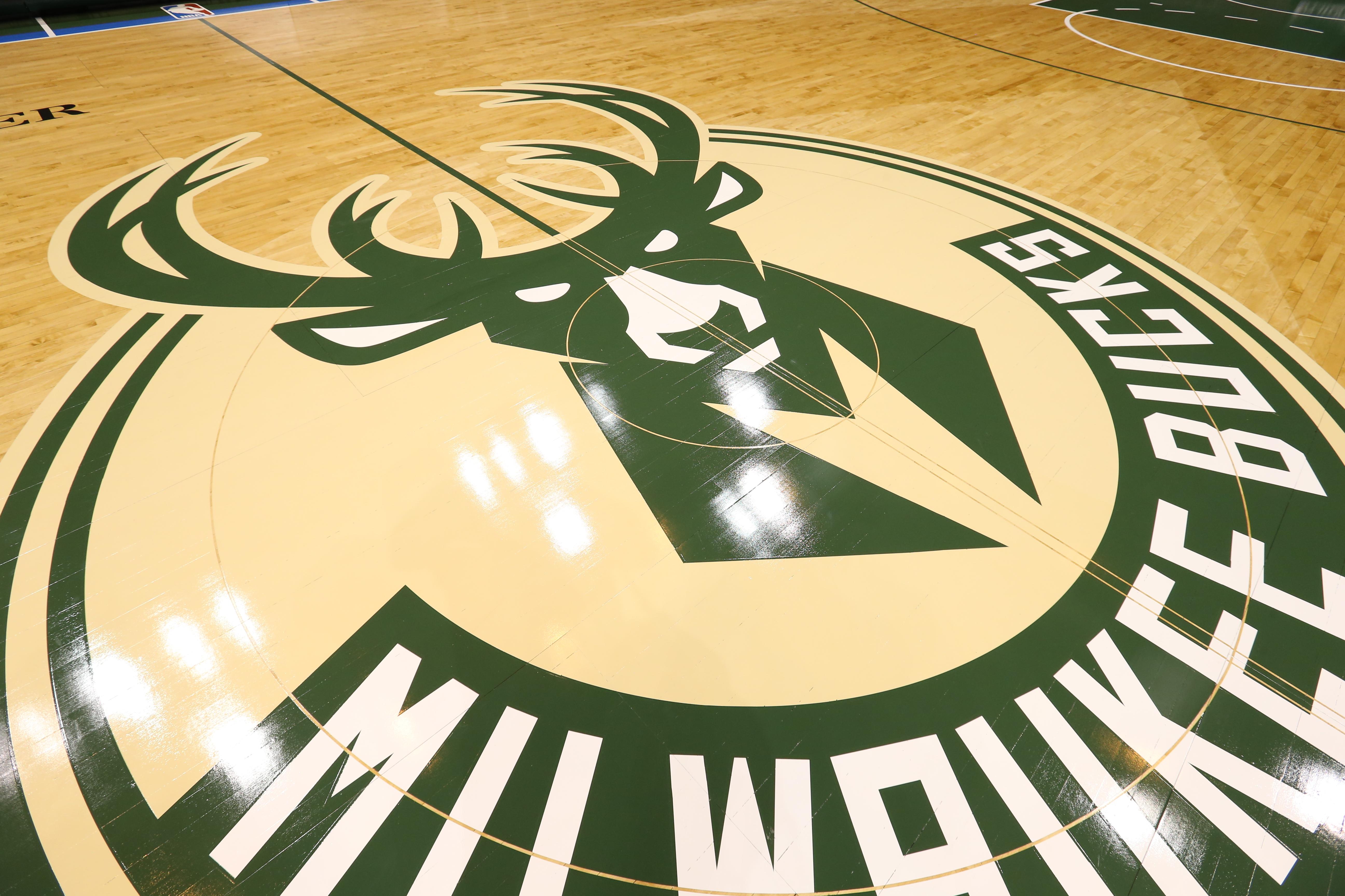 MILWAUKEE, WI - JUNE 23: This is a view of the Milwaukee Bucks new court on June 23, 2015 at the BMO Harris Bradley Center in Milwaukee, Wisconson. (Photo by Gary Dineen/NBAE via Getty Images)