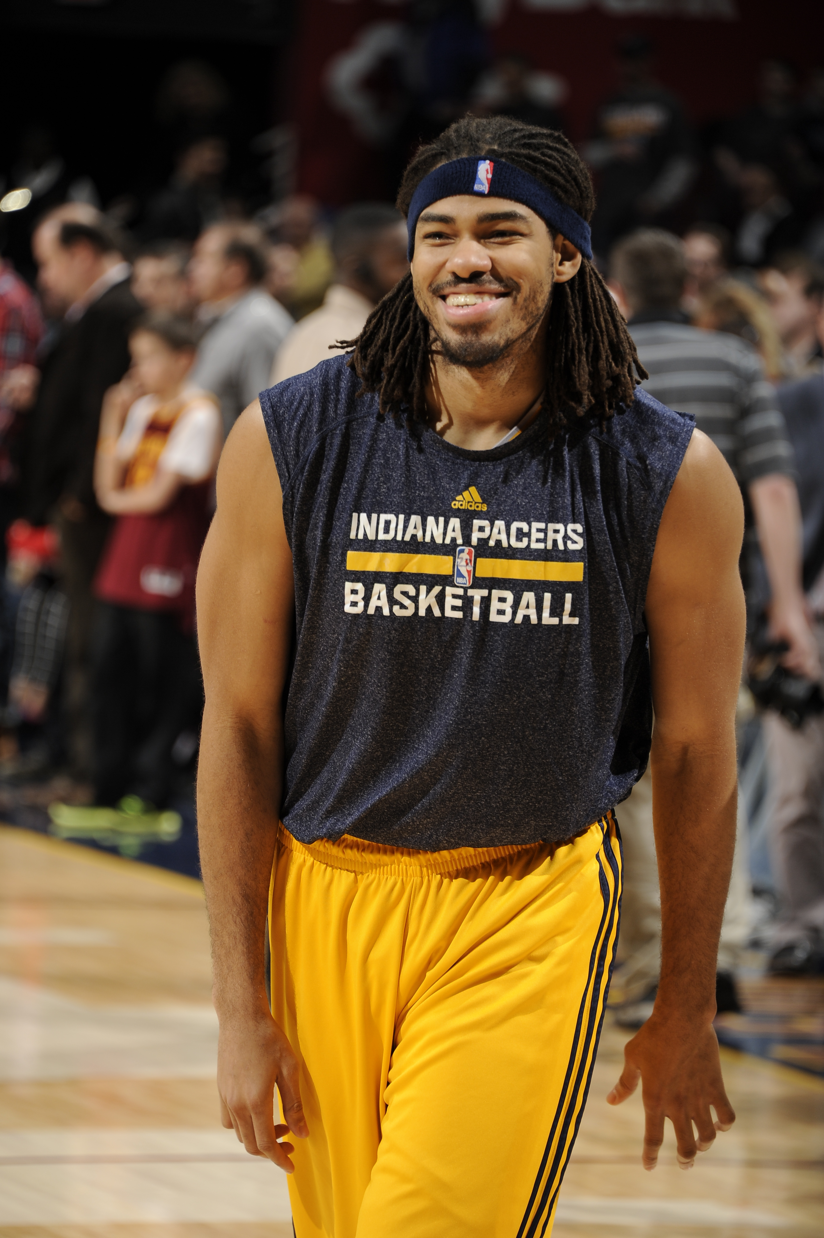 CLEVELAND, OH - MARCH 20: Chris Copeland #22 of the Indiana Pacers warms up before the game against the Cleveland Cavaliers on March 20, 2015 at Quicken Loans Arena in Cleveland, Ohio. (Photo by David Kyle/NBAE via Getty Images)