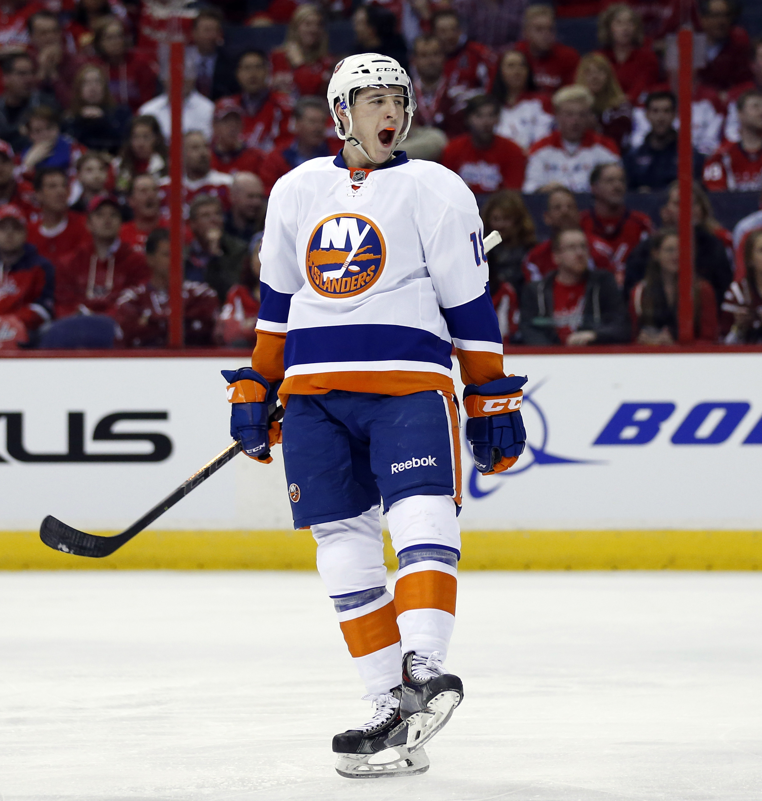 New York Islanders center Ryan Strome (18) celebrates his goal against the Washington Capitals during the second period of Game 1 of a first-round NHL hockey Stanley Cup playoff series, Wednesday, April 15, 2015, in Washington. (AP Photo/Alex Brandon)