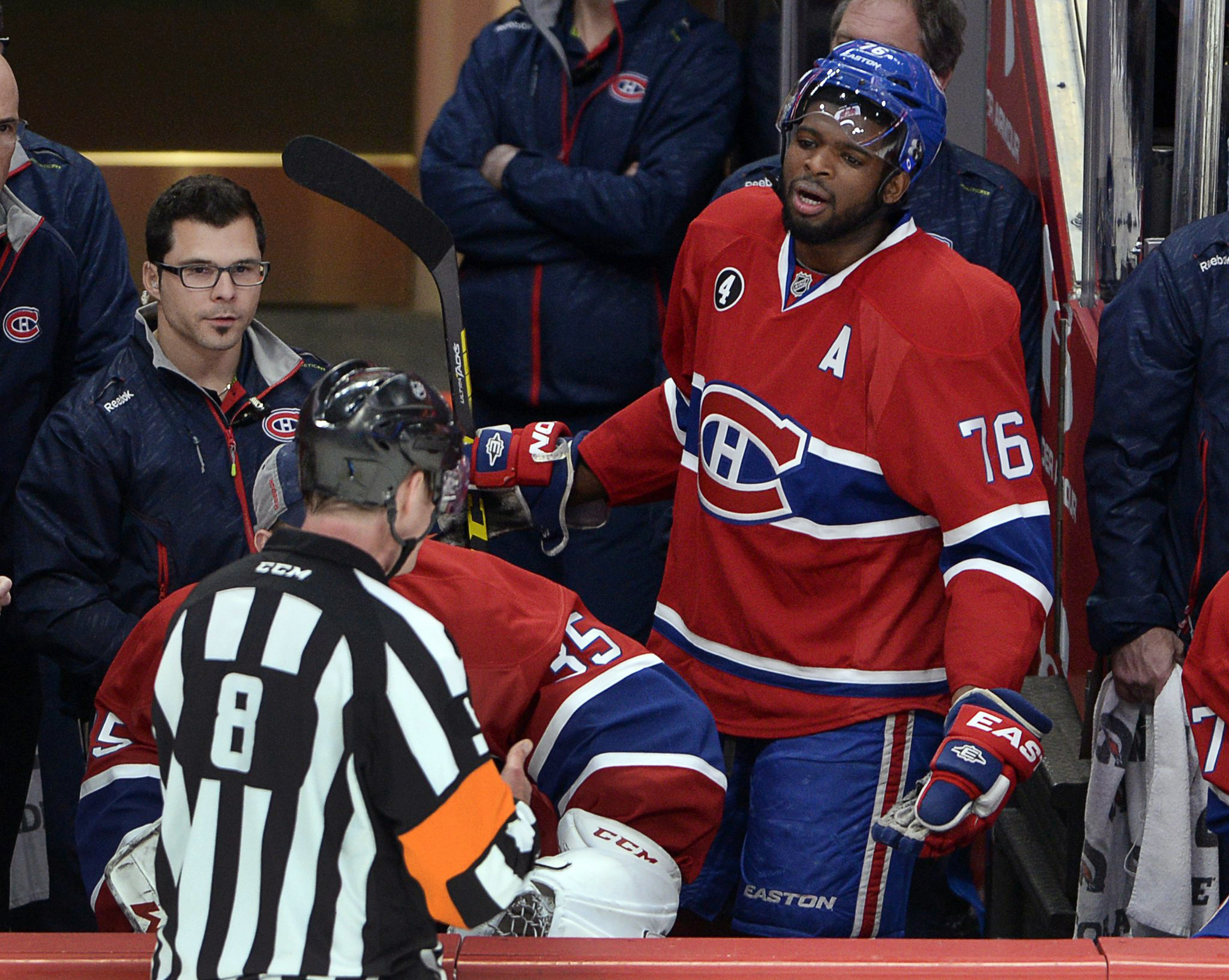 Montreal Canadiens defenseman P.K. Subban (76) argues with referee Dave Jackson after receiving a game misconduct during the second period of Game 1 in an NHL hockey first-round playoff series against the Ottawa Senators on Wednesday, April 15, 2015, in M