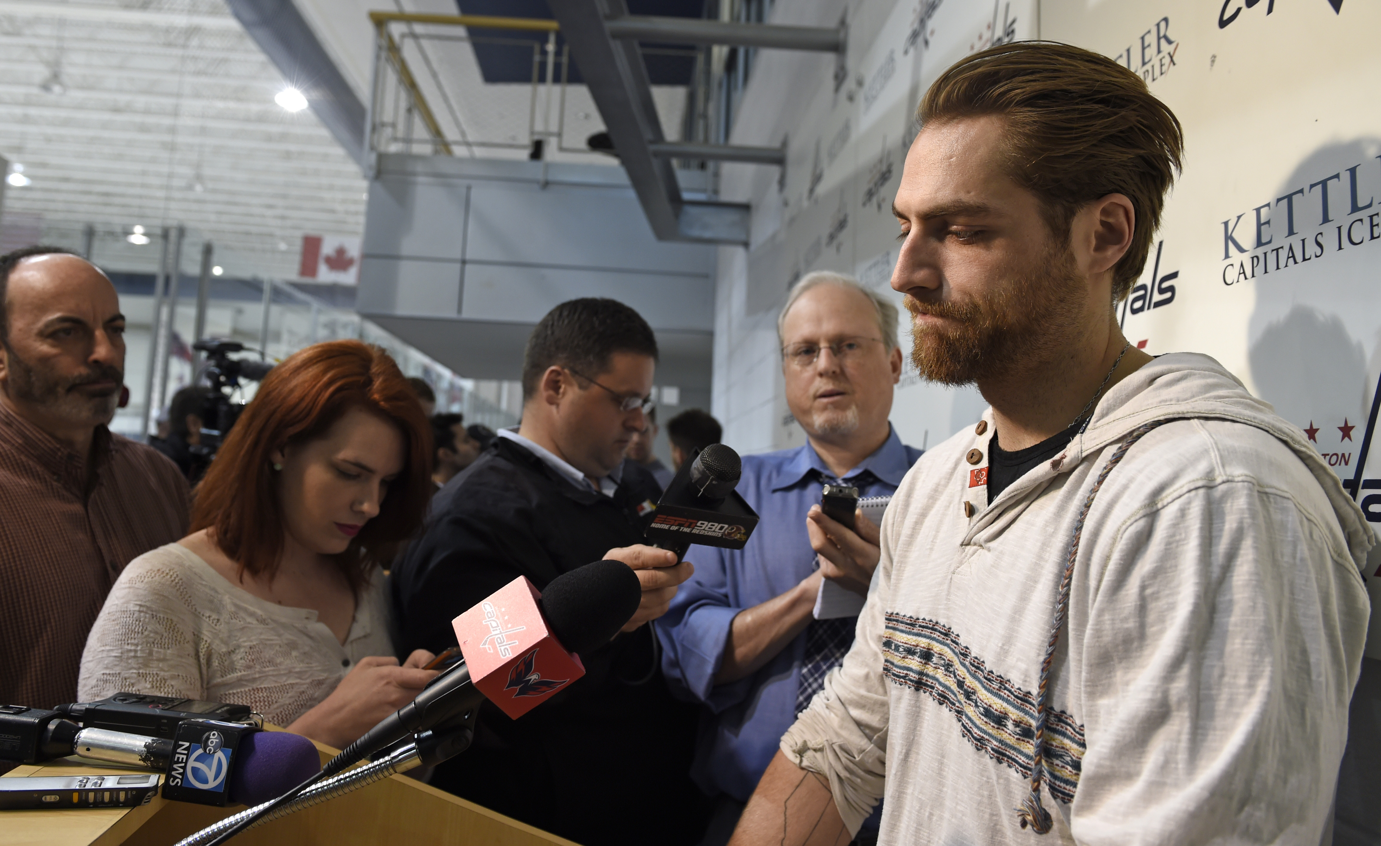 Washington Capitals goalie Braden Hotlby speaks to reporters at the Kettler Capitals Iceplex in Arlington, Va. Friday, May 15, 2015. The Capitals hockey team was eliminated from the Stanley Cup Playoffs and spent the day cleaning out their lockers in prep