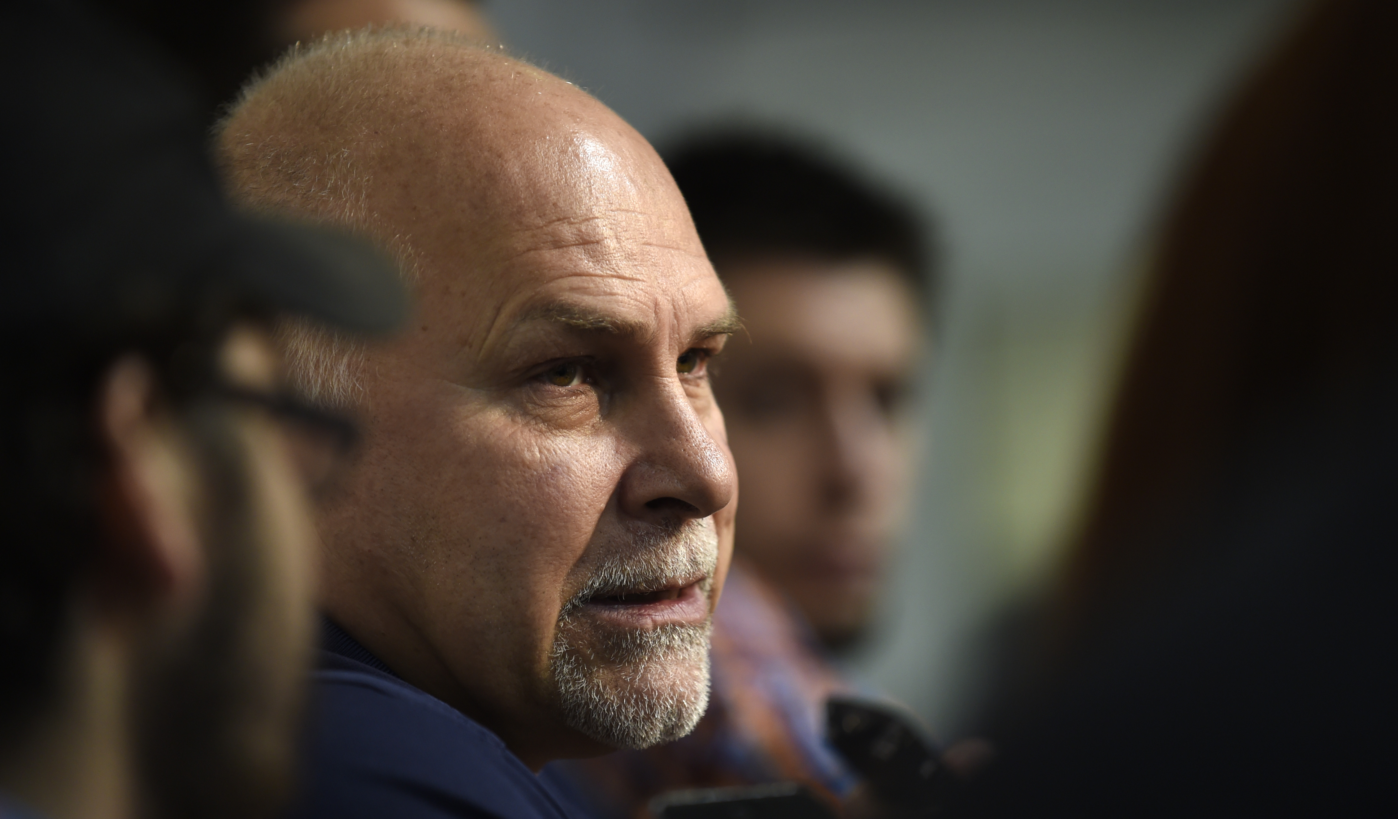 Washington Capitals coach Barry Trotz speaks to reporters at Kettler Capitals Iceplex in Arlington, Va., Friday, May 15, 2015. The Capitals hockey team was eliminated from the Stanley Cup Playoffs and spent the day cleaning out their lockers in preparatio