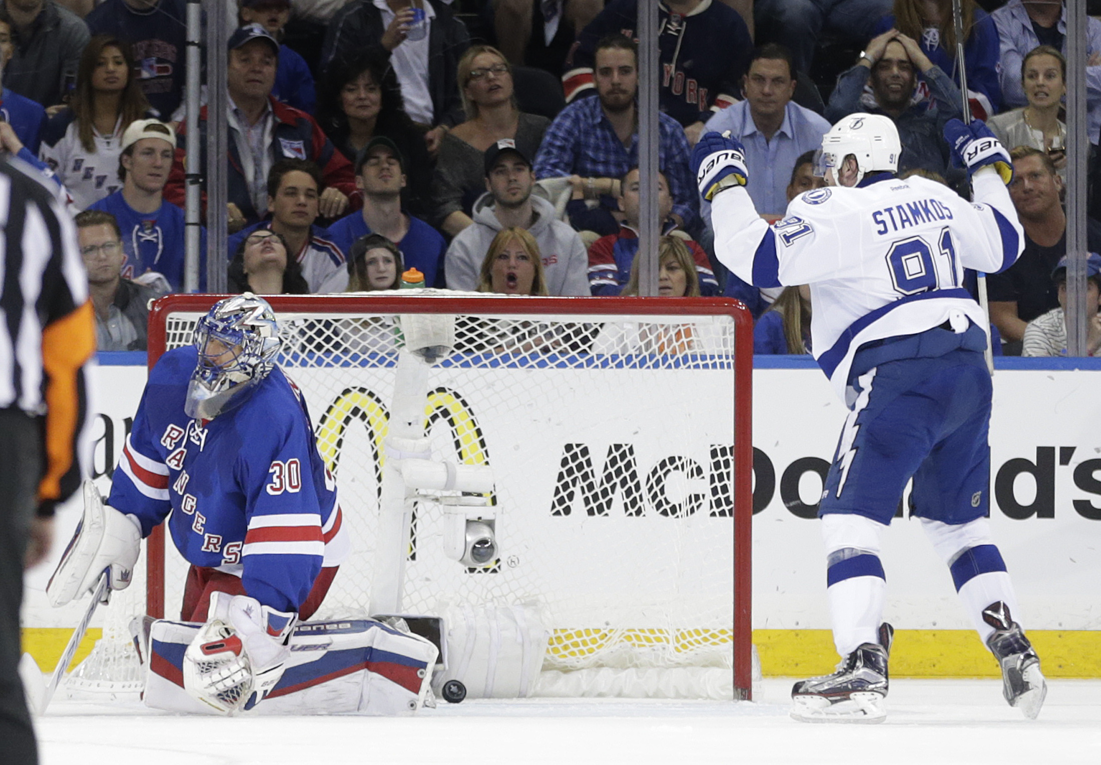 Tampa Bay Lightning center Steven Stamkos (91) reacts after scoring against New York Rangers goalie Henrik Lundqvist (30) during the second period of Game 5 of the Eastern Conference final during the NHL hockey Stanley Cup playoffs, Sunday, May 24, 2015,