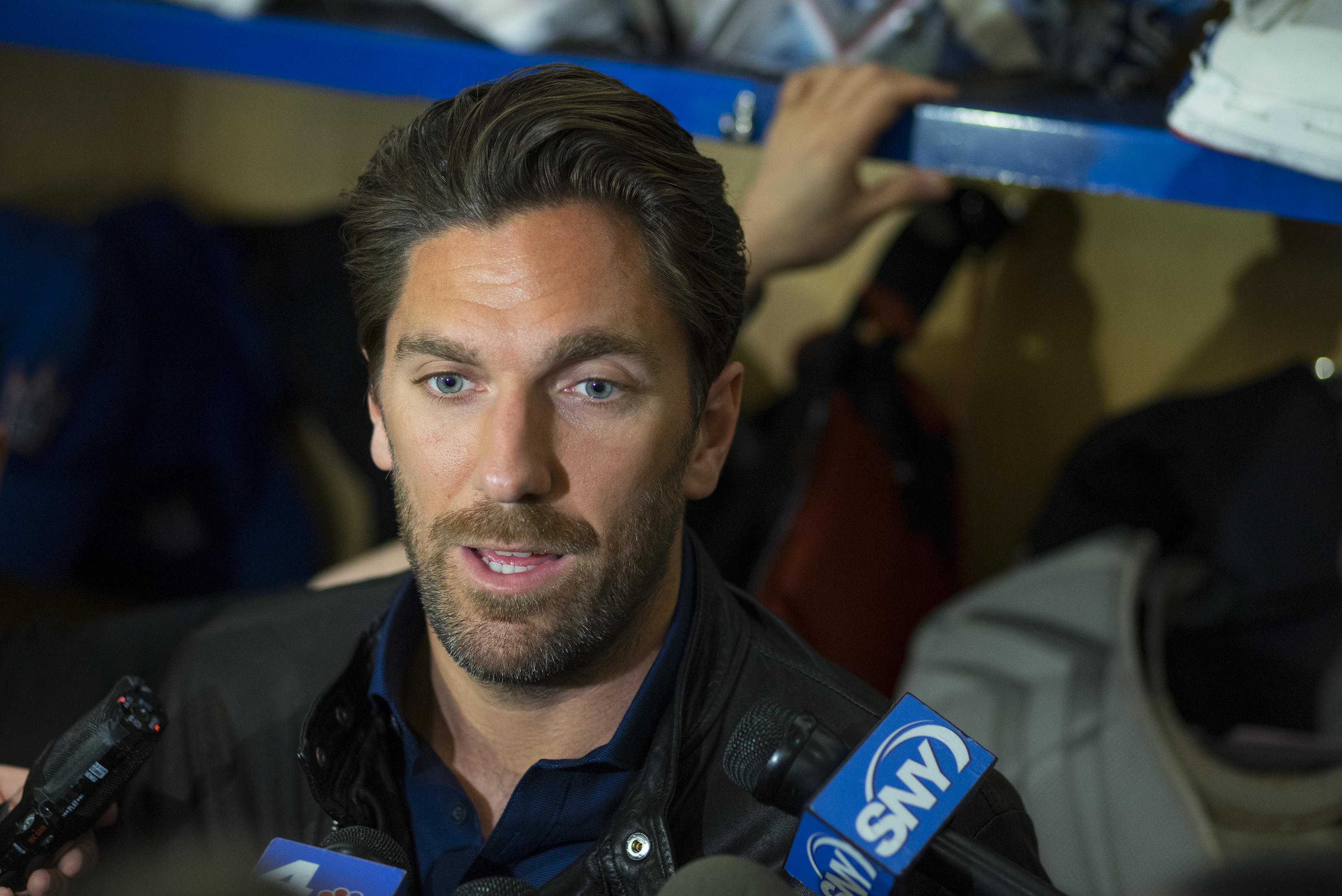 New York Rangers Henrik Lundqvist speaks to media in the locker room at the team's Westchester training facility in Greenburgh, N.Y., Monday, June 1, 2015. The Rangers came up a game short of making the Stanley Cup finals for the second straight year. (AP