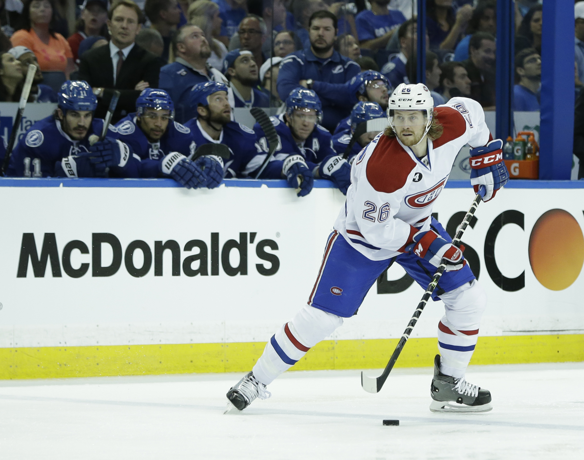 Montreal Canadiens defenseman Jeff Petry looks for an open teammate during the first period of Game 3 NHL second round playoff hockey action, Wednesday, May 6, 2015, in Tampa, Fla. (AP Photo/Wilfredo Lee)