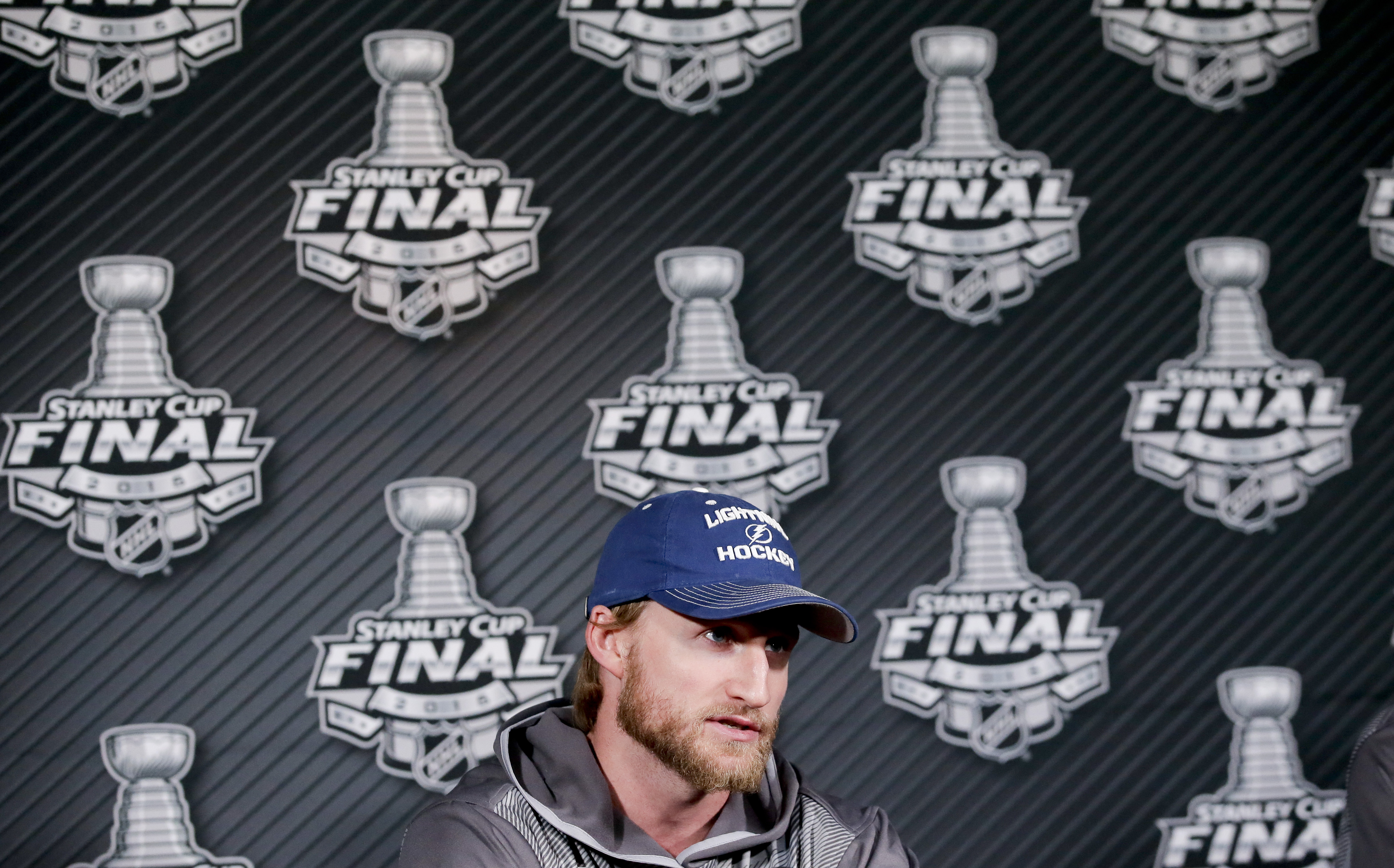 Tampa Bay Lightning center Steven Stamkos speaks during a news conference at the NHL hockey Stanley Cup Final in Tampa, Fla., Thursday, June 4, 2015. The Chicago Blackhawks defeated the Lightning 2-1 in Game 1 Wednesday night. Game 2 is scheduled for Satu