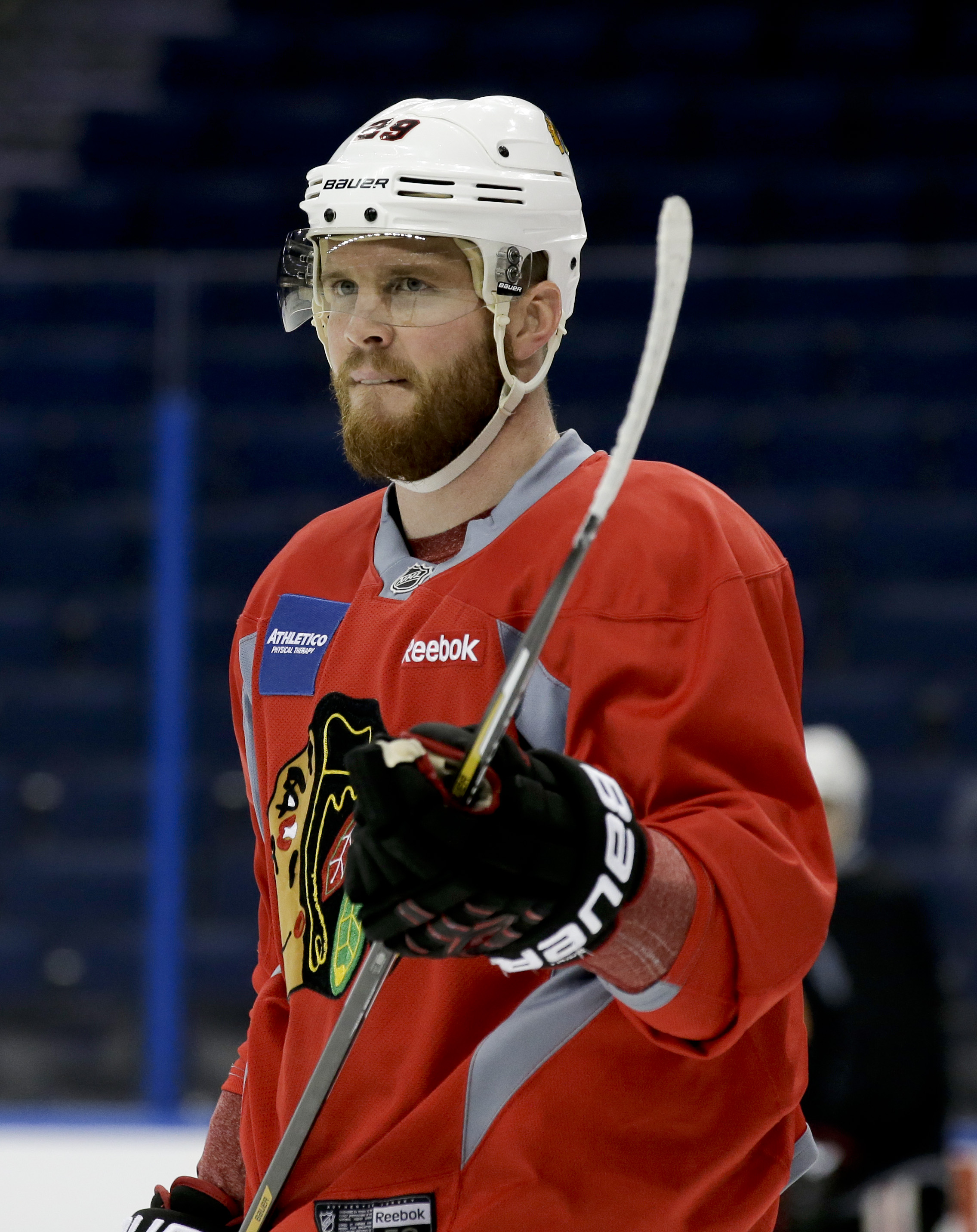 Chicago Blackhawks left wing Bryan Bickell skates during practice at the NHL hockey Stanley Cup Final, Friday, June 5, 2015, in Tampa, Fla. The Chicago Blackhawks lead the best-of-seven games series against the Tampa Bay Lightning 1-0. Game 2 is scheduled