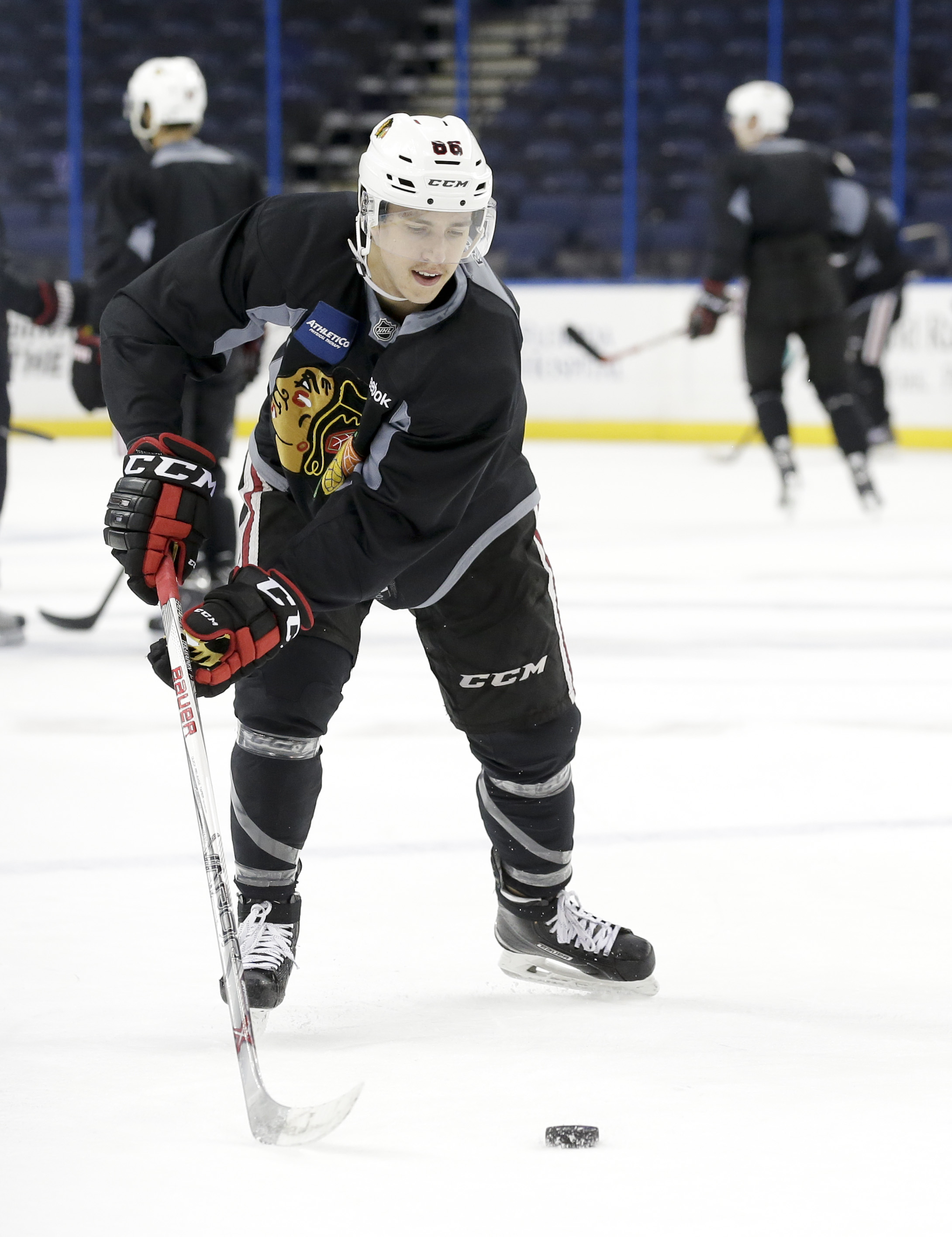 Chicago Blackhawks left wing Teuvo Teravainen shoots during practice at the NHL hockey Stanley Cup Final, Friday, June 5, 2015, in Tampa, Fla. The Blackhawks lead the best-of-seven games series against the Tampa Bay Lightning 1-0. Game 2 is scheduled for